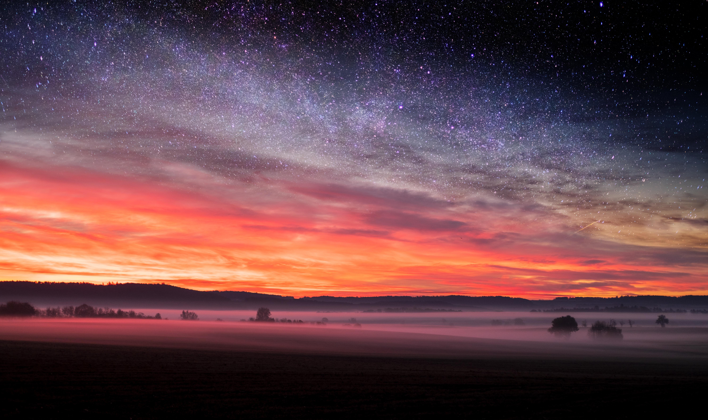 85746 скачать обои Природа, Поле, Звездное Небо, Туман, Вечер, Осень, Пейзаж - заставки и картинки бесплатно