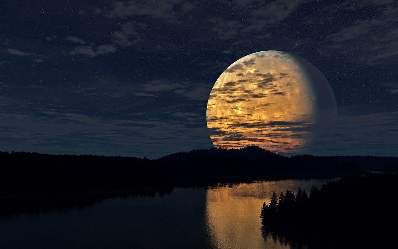 21338 скачать обои Пейзаж, Река, Ночь, Луна - заставки и картинки бесплатно