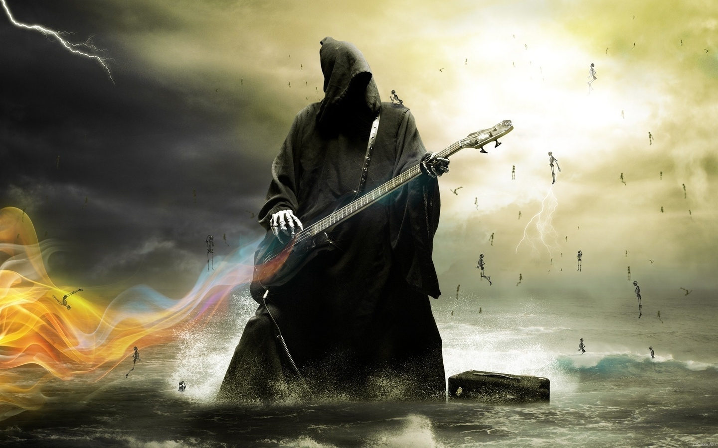 21178 download wallpaper Music, Fantasy, Guitars, Death screensavers and pictures for free
