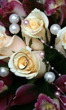 67050 Заставки и Обои Свадьба на телефон. Скачать Цветы, Лилии, Букет, Свадьба, Бусинки, Счастье, Радость, Розы, Кольца картинки бесплатно