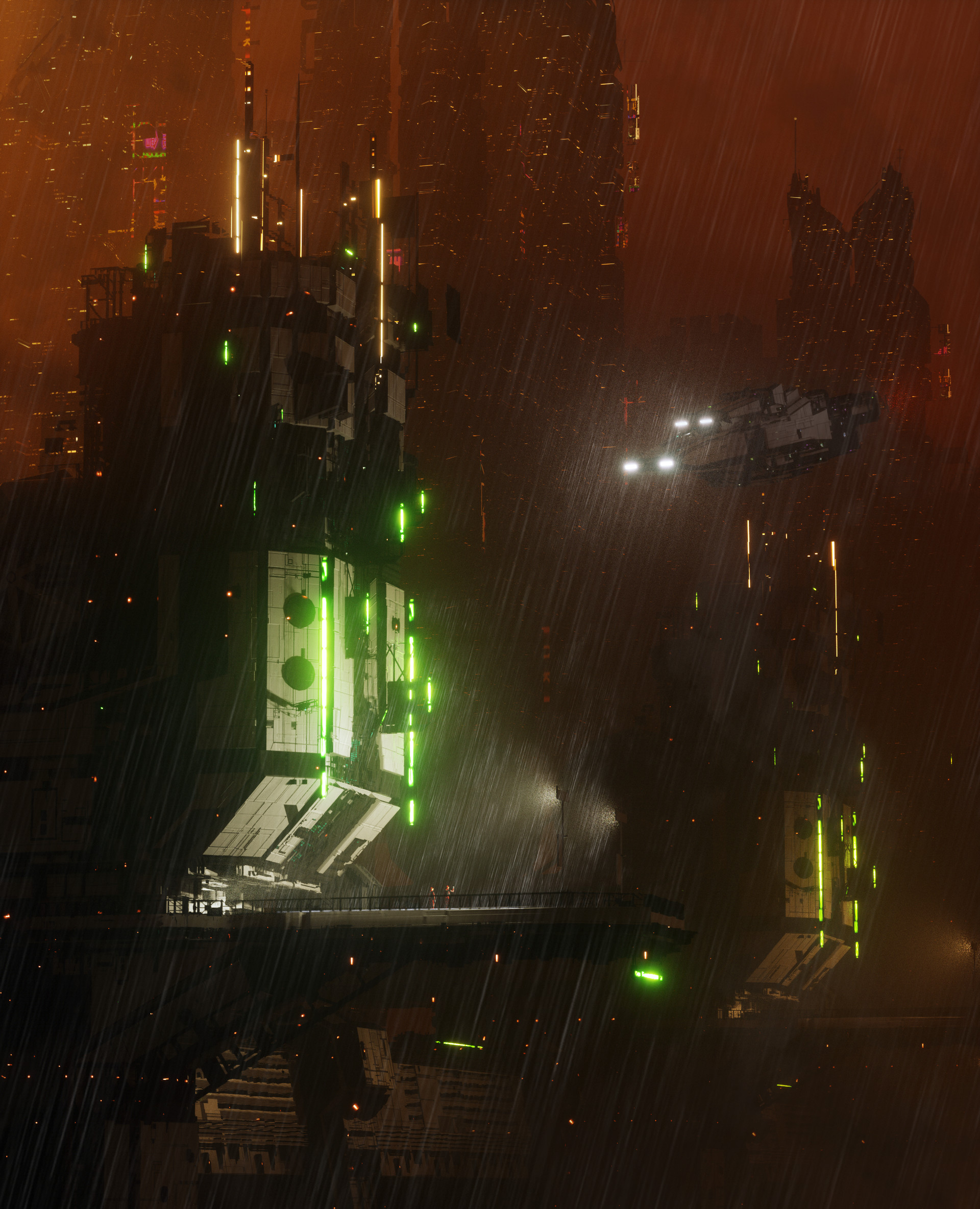 129666 Screensavers and Wallpapers Sci-Fi for phone. Download Art, Rain, Night, Dark, Sci-Fi, Station pictures for free