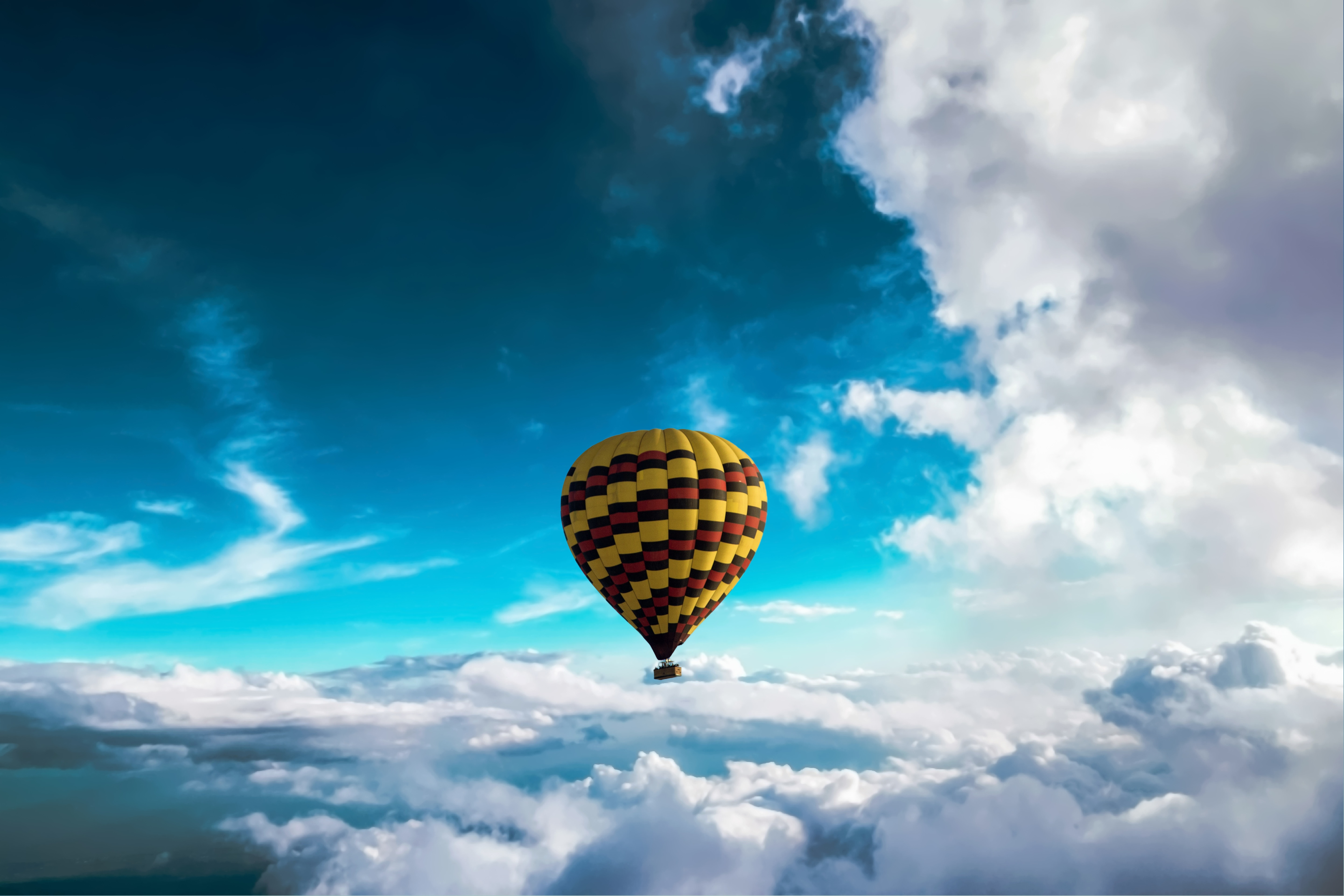 104534 download wallpaper Miscellanea, Miscellaneous, Balloon, Sky, Clouds, Flight, Height, Motley, Variegated screensavers and pictures for free