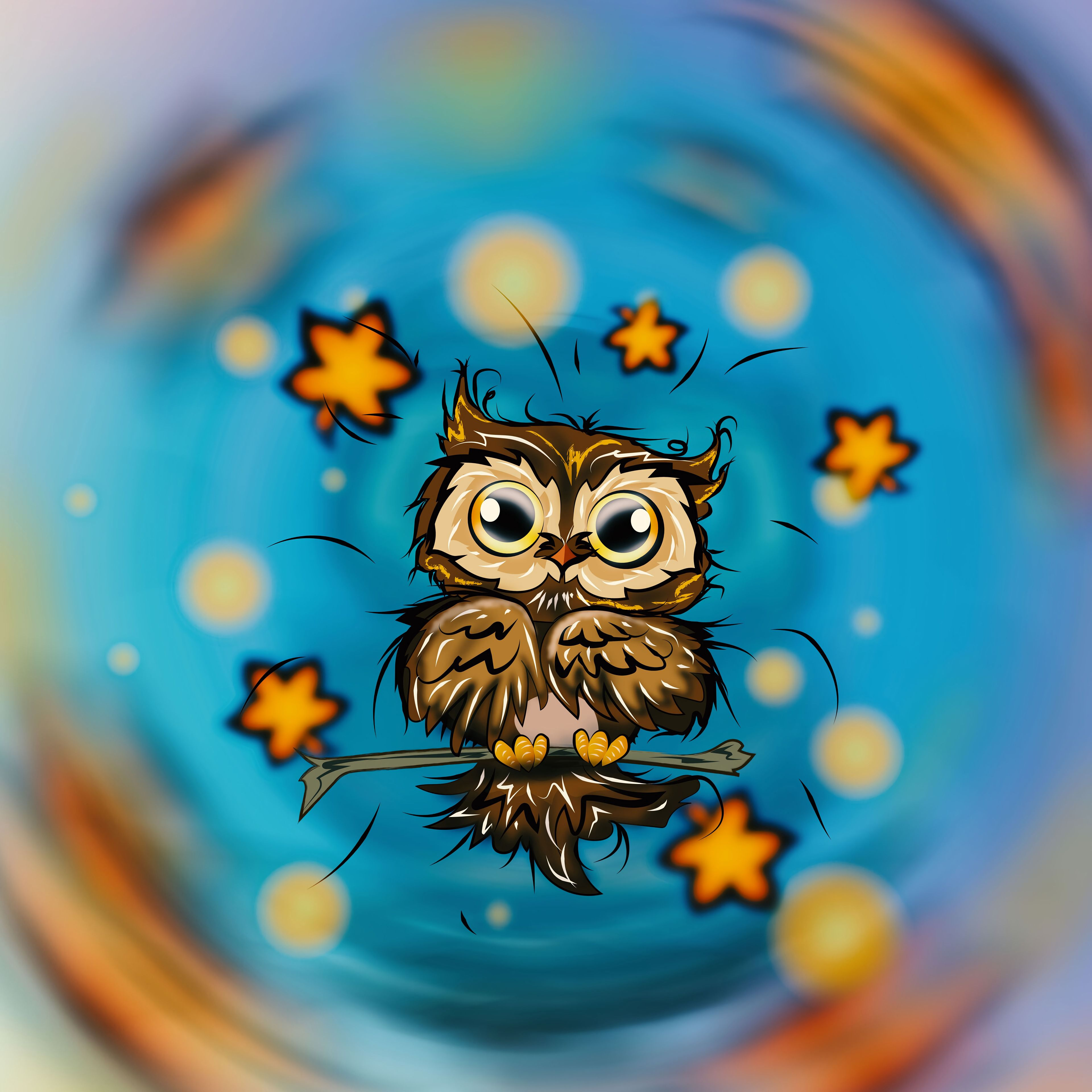 118505 download wallpaper Owl, Bird, Nice, Sweetheart, Art, Stars screensavers and pictures for free