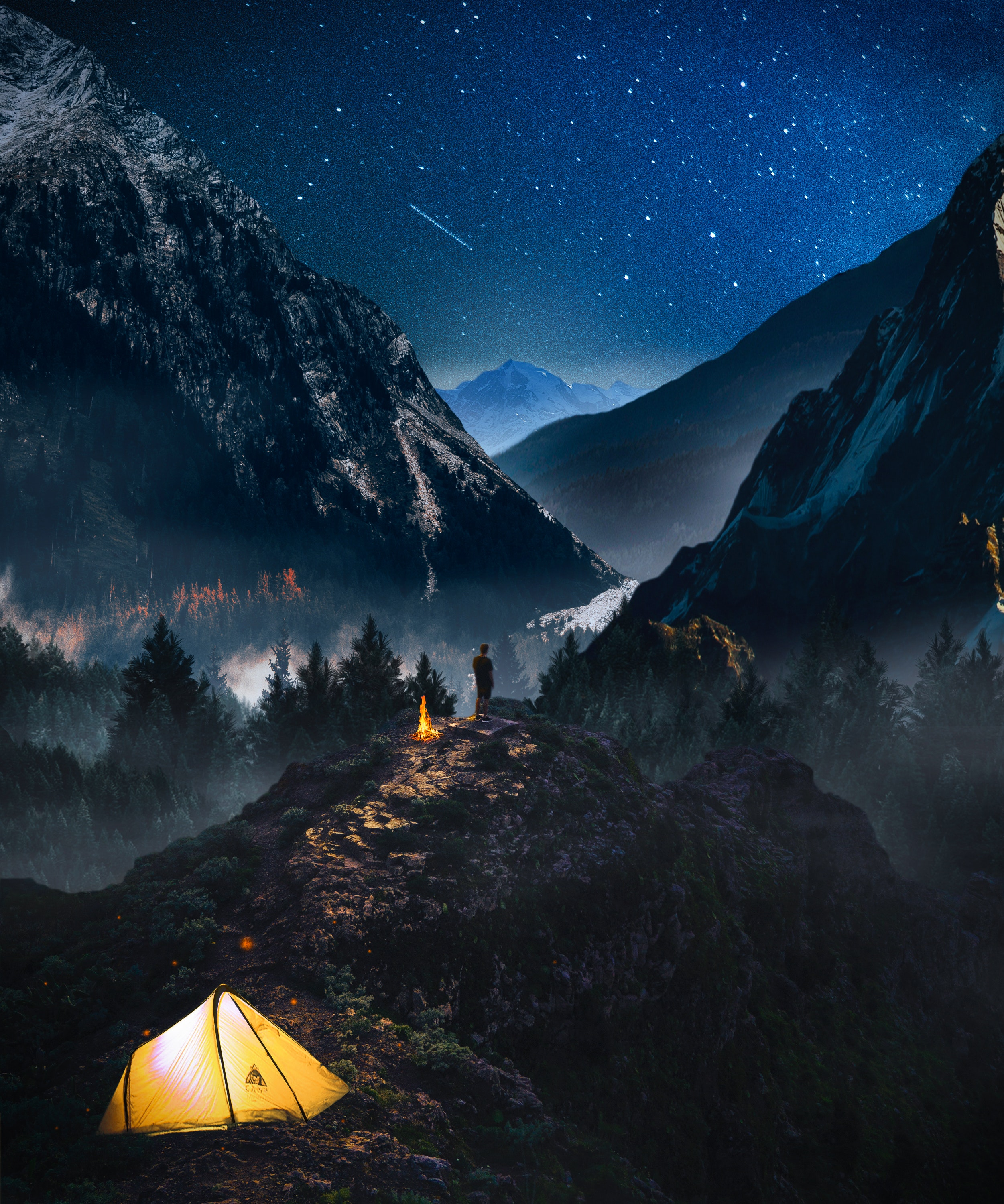 111038 download wallpaper Loneliness, Nature, Mountains, Starry Sky, Photoshop, Camping, Campsite screensavers and pictures for free