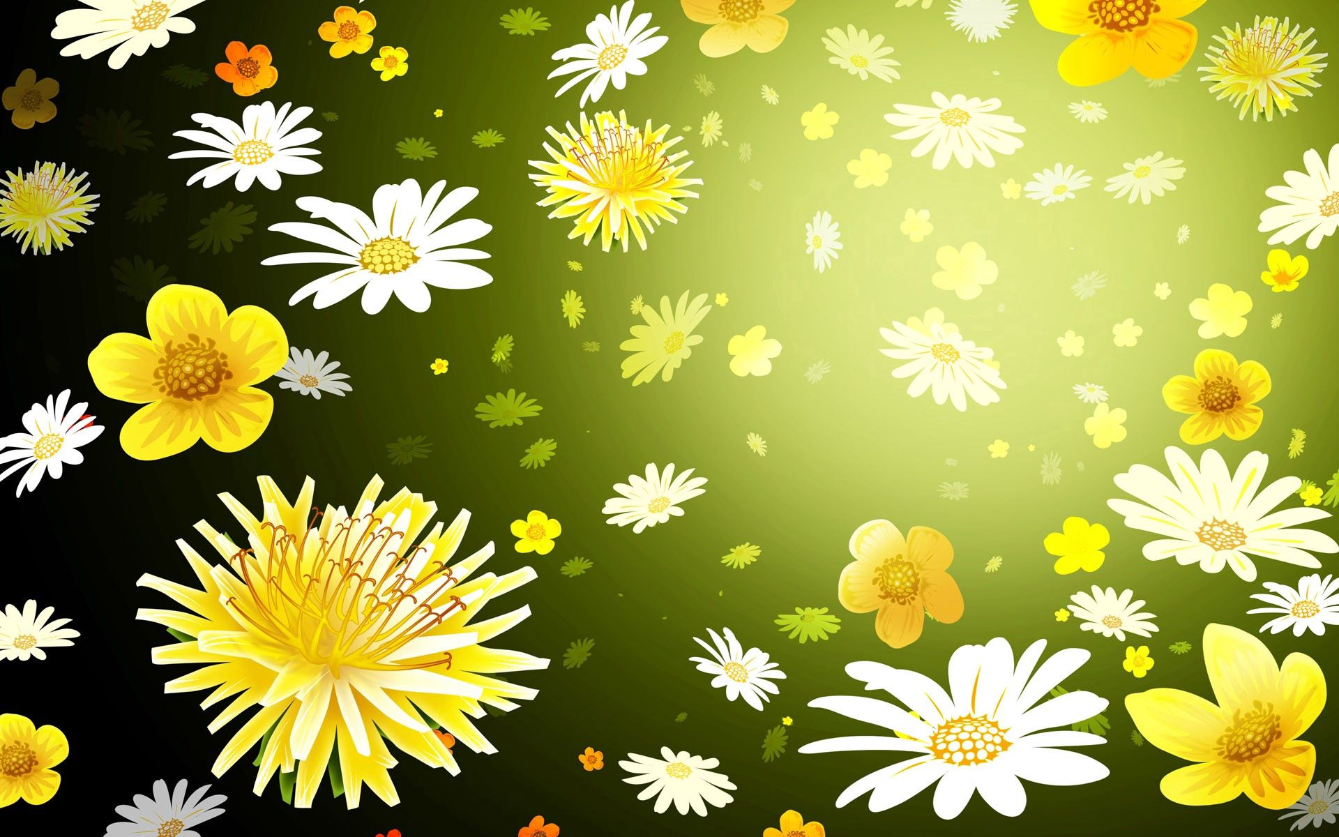 119717 download wallpaper Background, Flowers, Dandelions, Camomile, Texture, Textures, Picture, Drawing screensavers and pictures for free