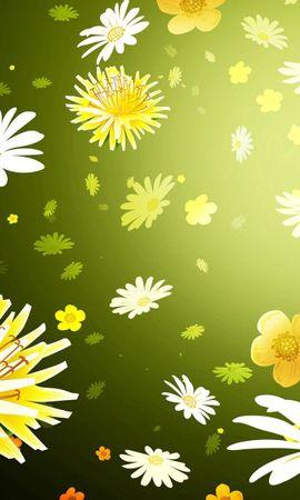 119717 скачать обои Текстуры, Рисунок, Фон, Ромашки, Одуванчики, Цветы - заставки и картинки бесплатно