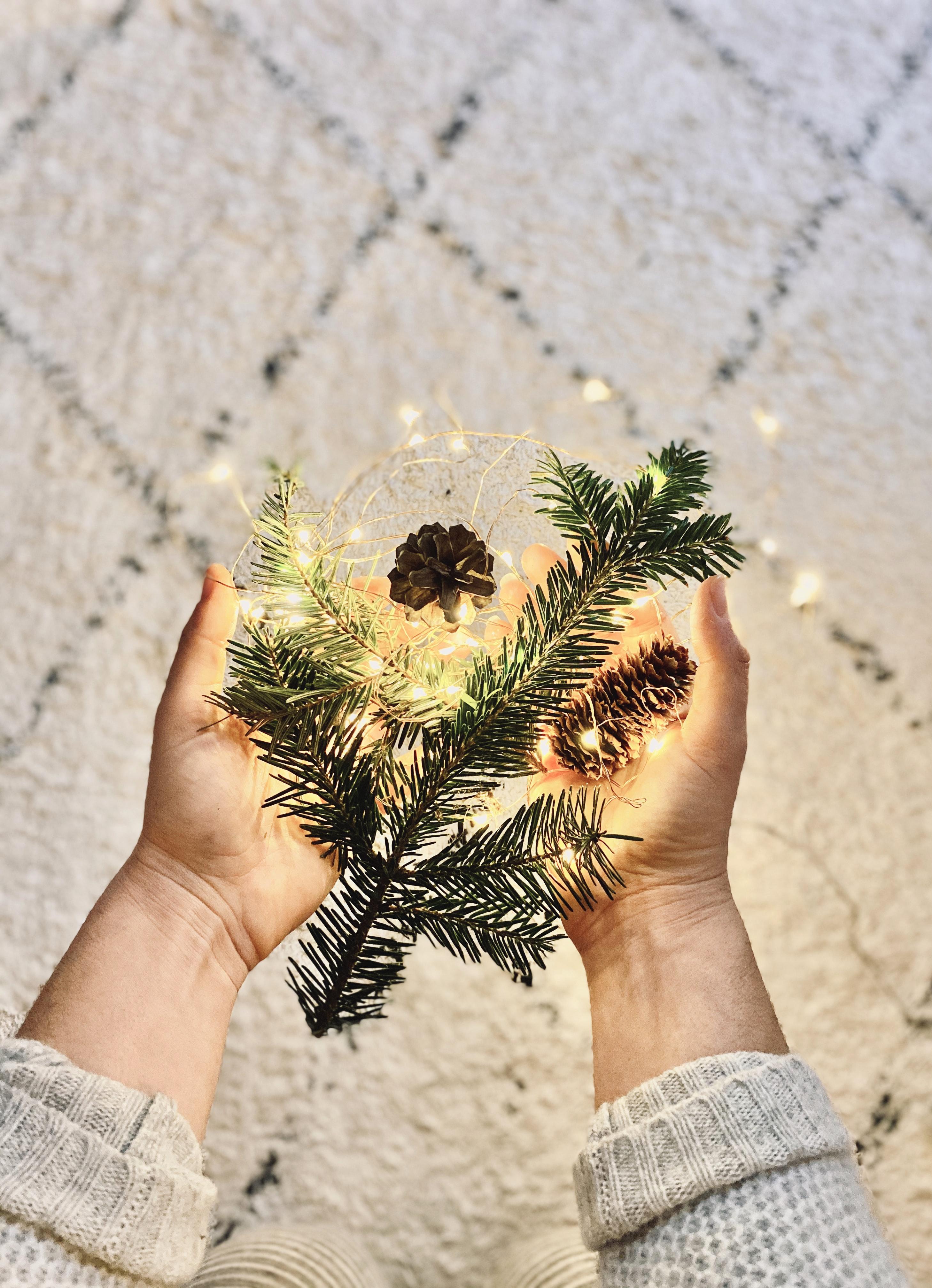 77369 скачать обои Праздники, Ветка, Гирлянда, Шишки, Руки, Праздник, Новый Год, Рождество - заставки и картинки бесплатно
