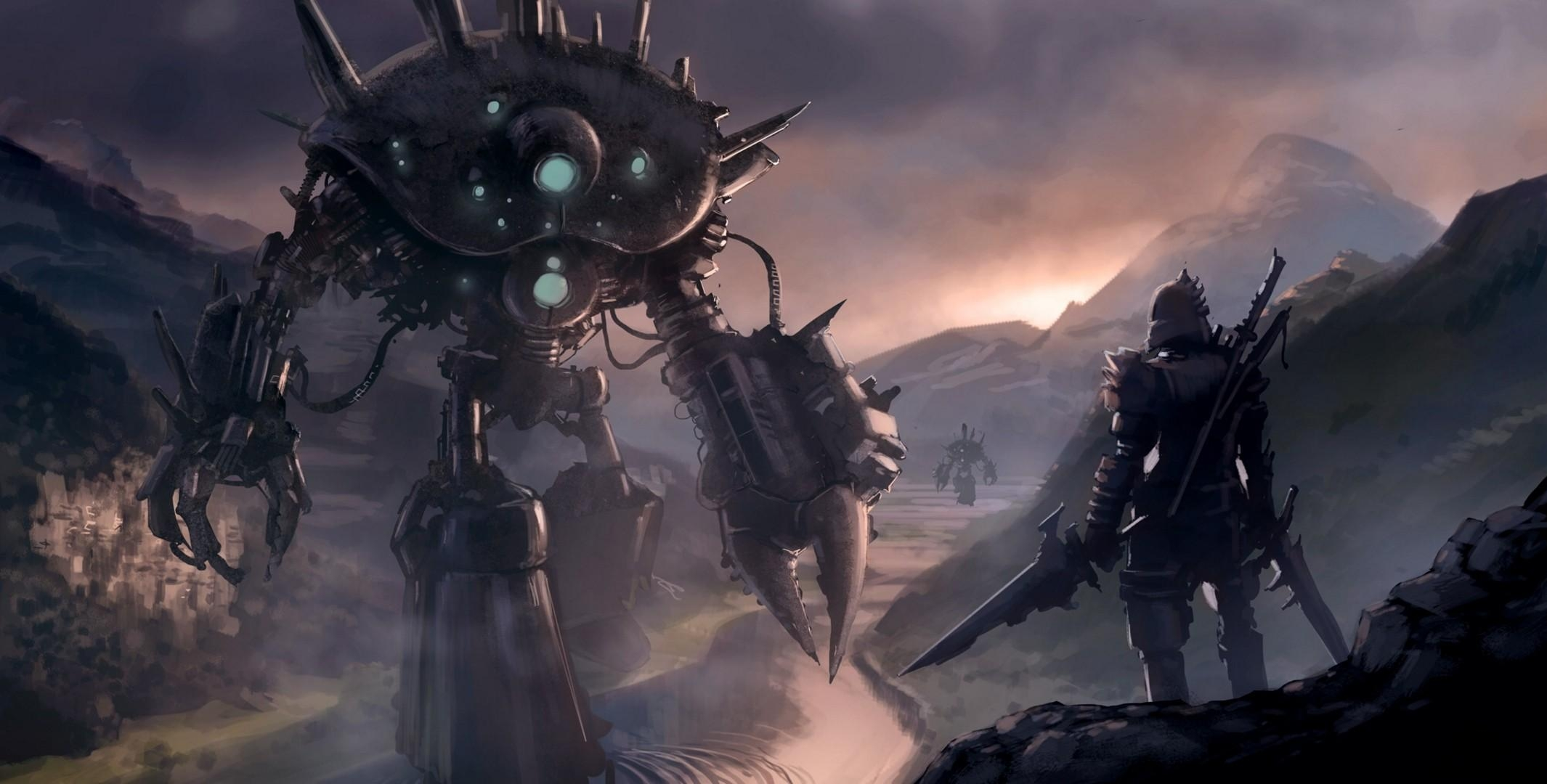 119179 download wallpaper Fantasy, Weapon, Human, Person, Robot, Cyborg screensavers and pictures for free
