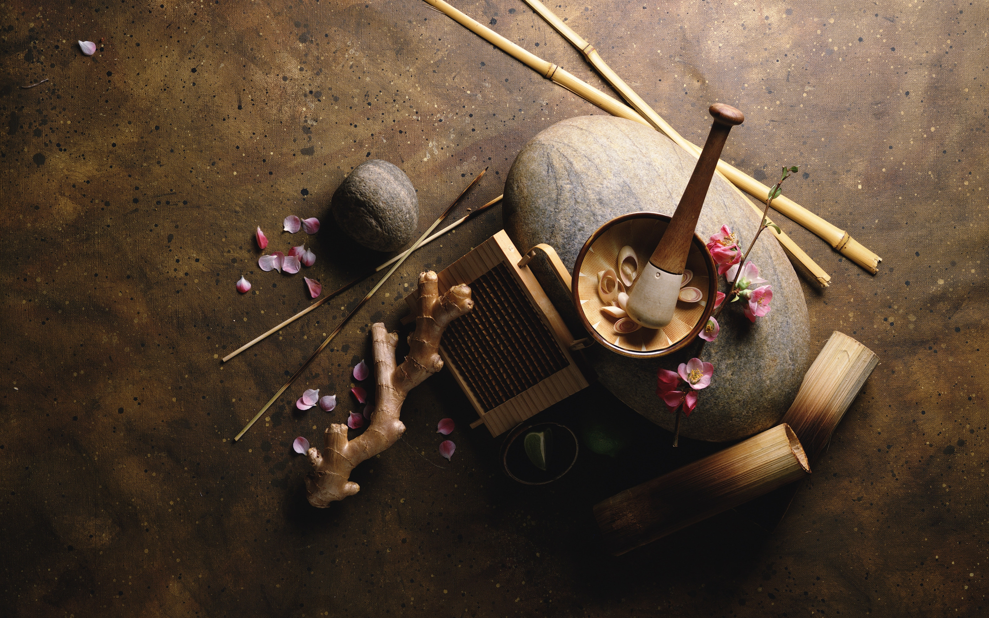 156453 download wallpaper Miscellanea, Miscellaneous, Bamboo, Root, Petals, Sticks, Pestle, Mortar screensavers and pictures for free