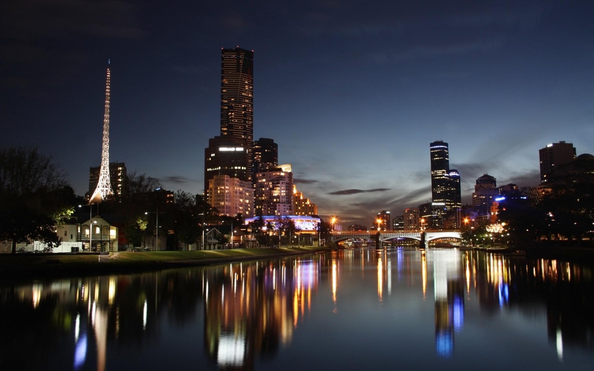 23307 скачать обои Пейзаж, Города, Река, Ночь - заставки и картинки бесплатно