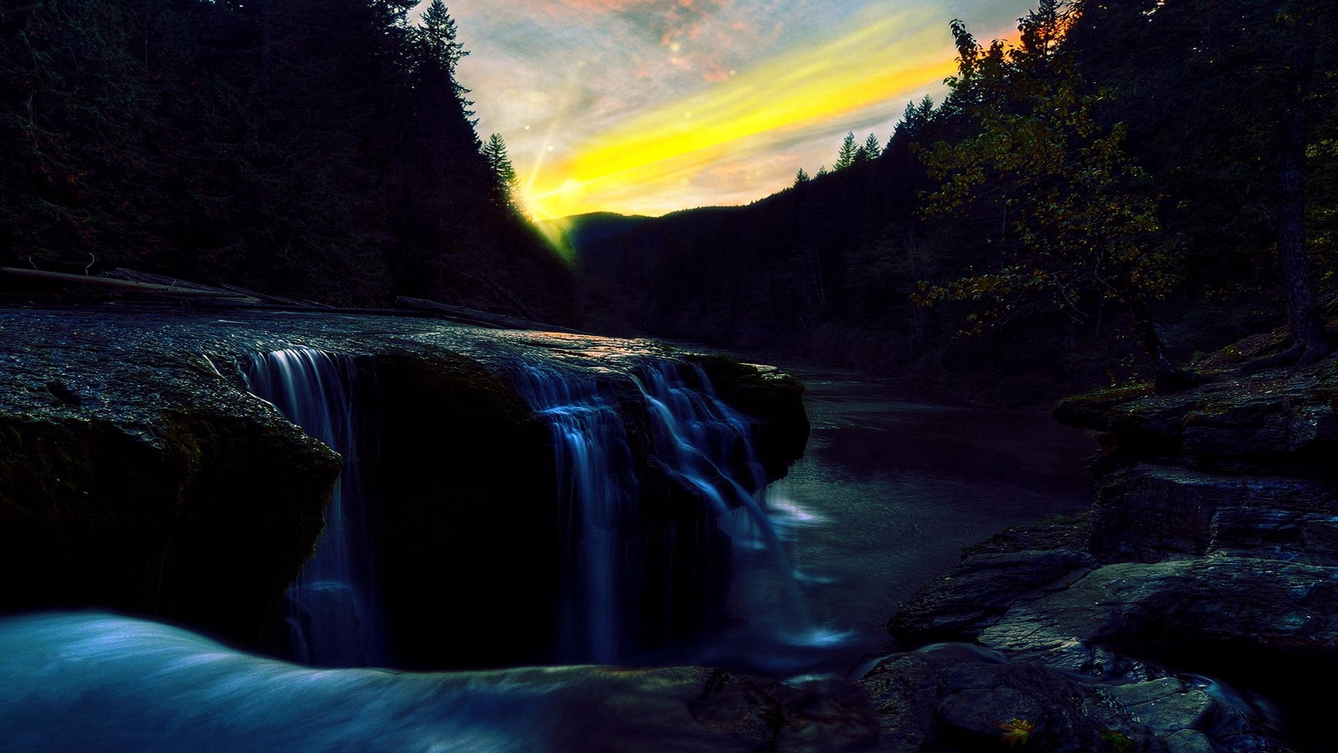 126514 скачать обои Природа, Лес, Река, Водопад, Обрыв, Закат, Вечер, Сумерки, Камни, Пейзаж - заставки и картинки бесплатно
