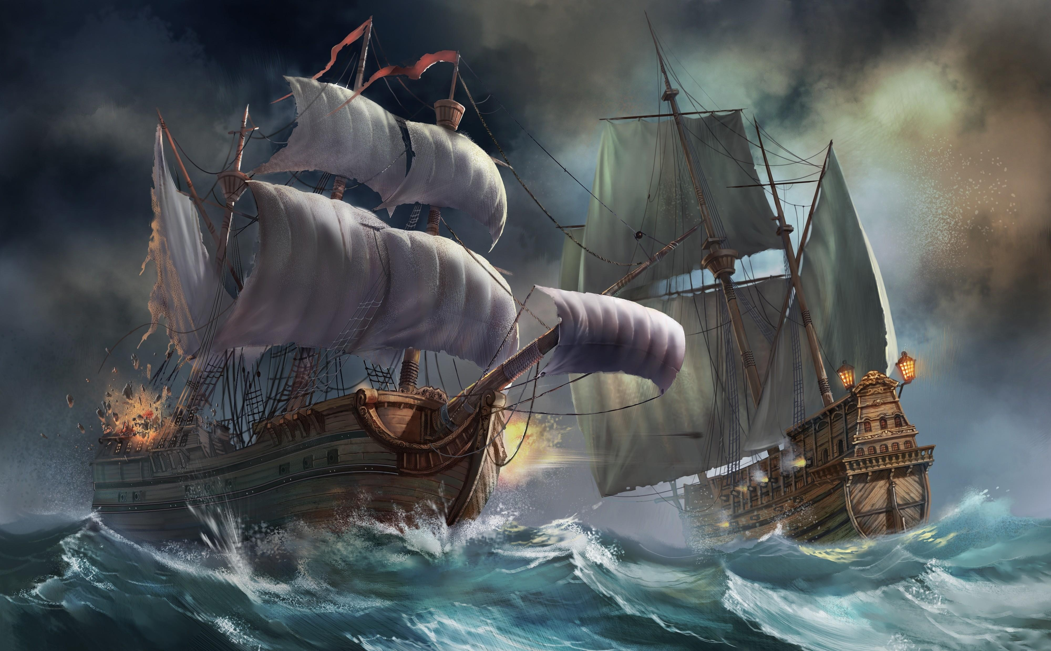 148421 download wallpaper Fantasy, Ships, Sea, Storm, Explosion screensavers and pictures for free