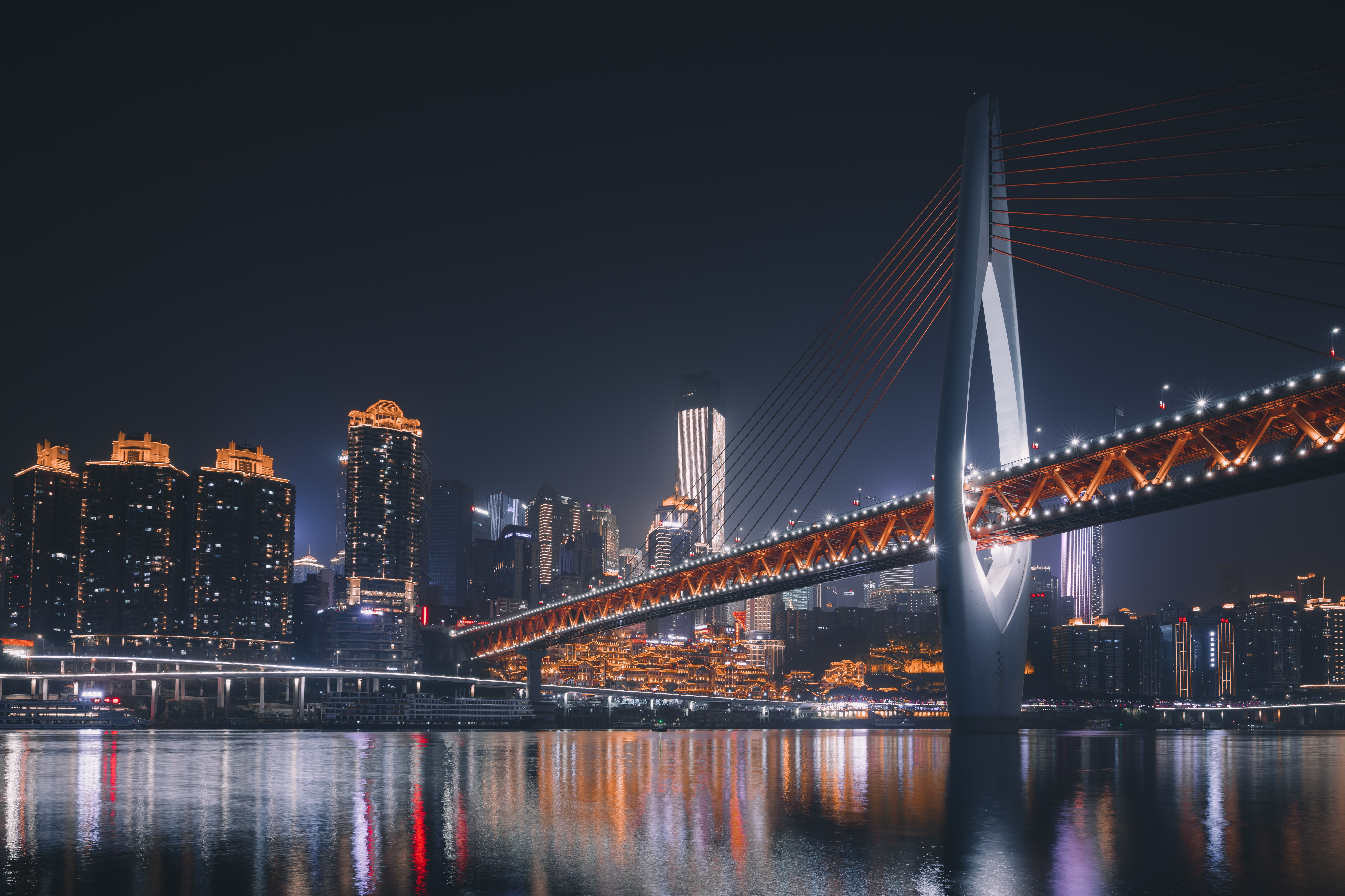 141912 Screensavers and Wallpapers Cities for phone. Download Architecture, Cities, Night City, Bridge, Backlight, Illumination, China, Chongqing pictures for free