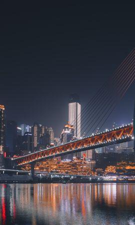 141912 économiseurs d'écran et fonds d'écran L'architecture sur votre téléphone. Téléchargez Pont, Ville De Nuit, Rétroéclairage, Illumination, Chongqing, Chine, L'architecture, Villes images gratuitement