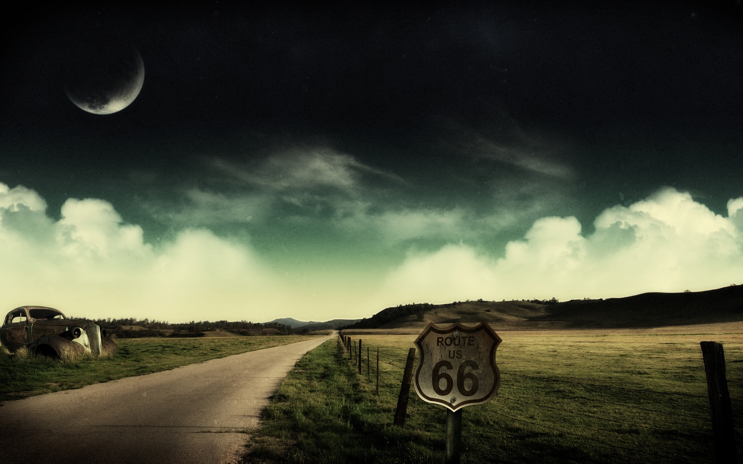 638 download wallpaper Landscape, Sky, Art, Roads screensavers and pictures for free