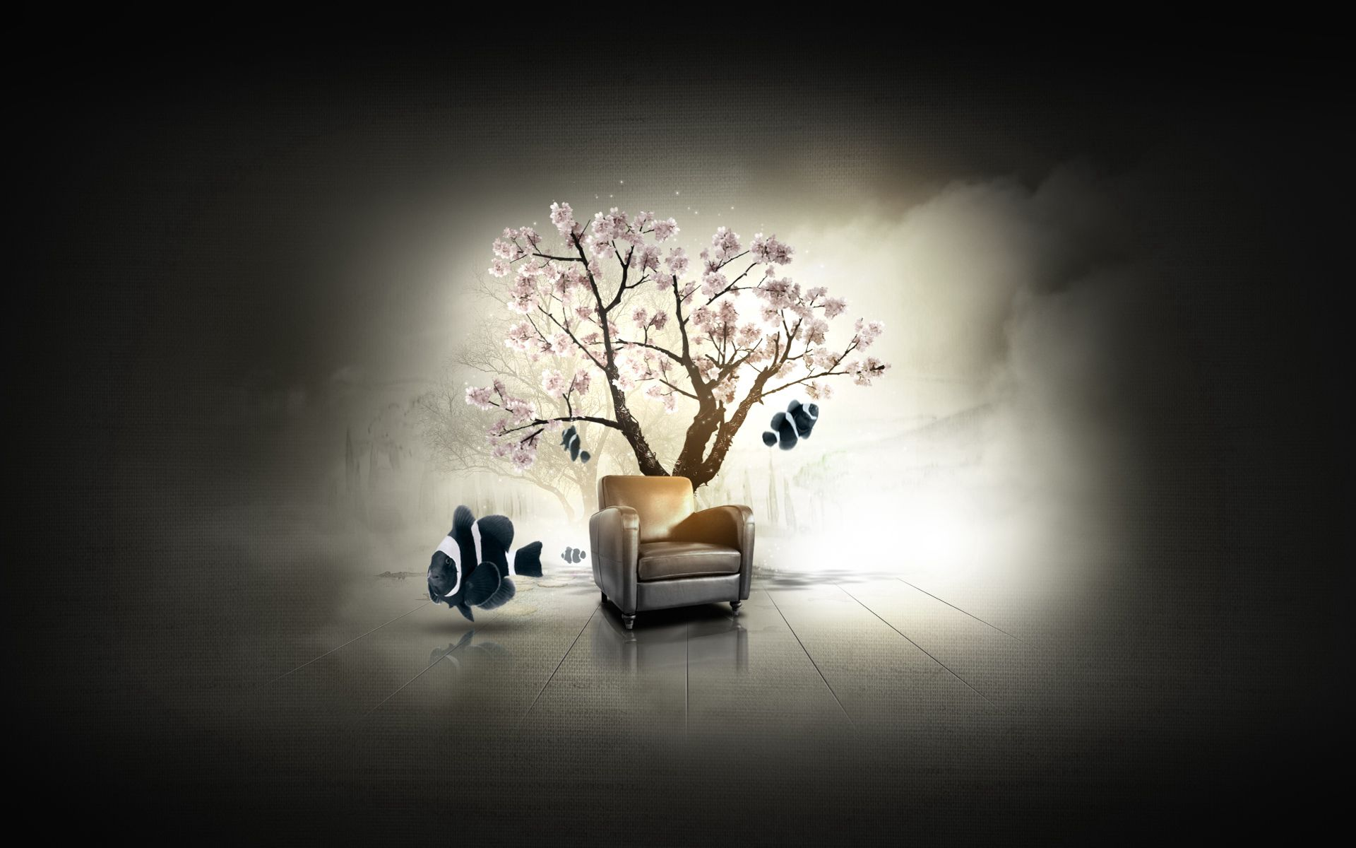 84754 download wallpaper Art, Dilshan Arukatti, Exciting, Garden, Wood, Tree, Armchair, Fish, Fishes, Sakura screensavers and pictures for free