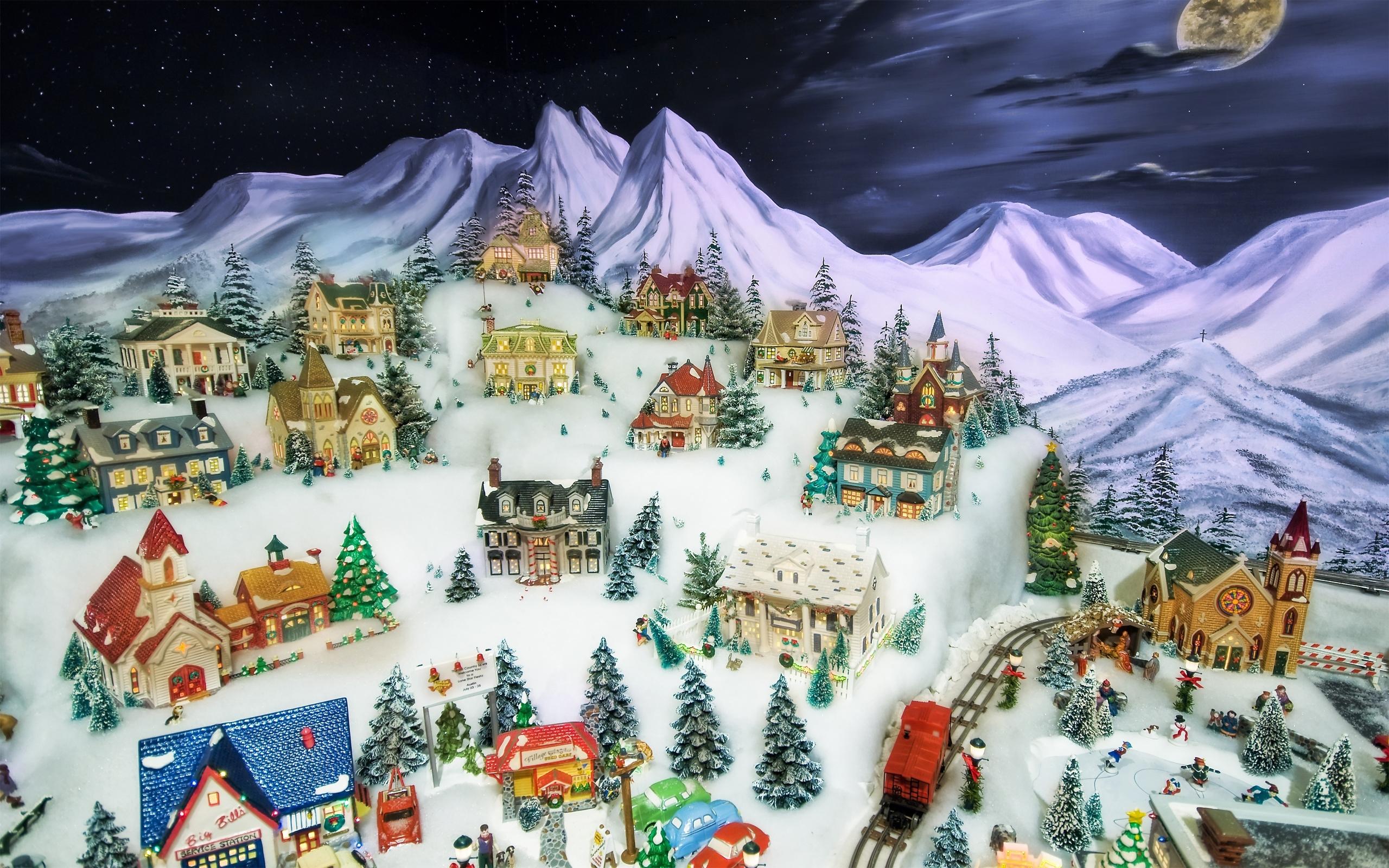 8716 скачать обои Города, Зима, Дома, Рисунки - заставки и картинки бесплатно