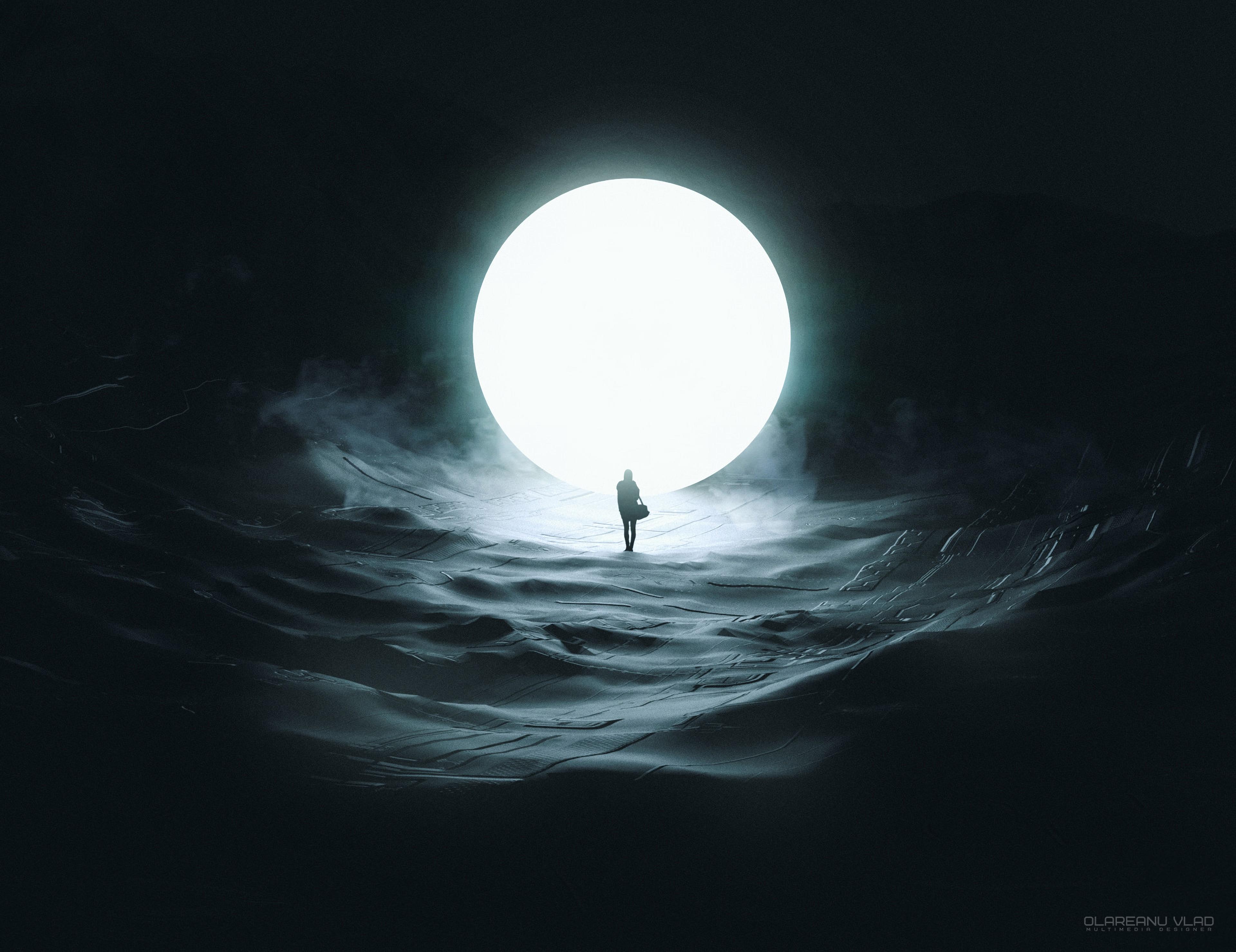 77580 скачать обои Темные, Луна, Силуэт, Шар, Свечение, Темнота - заставки и картинки бесплатно