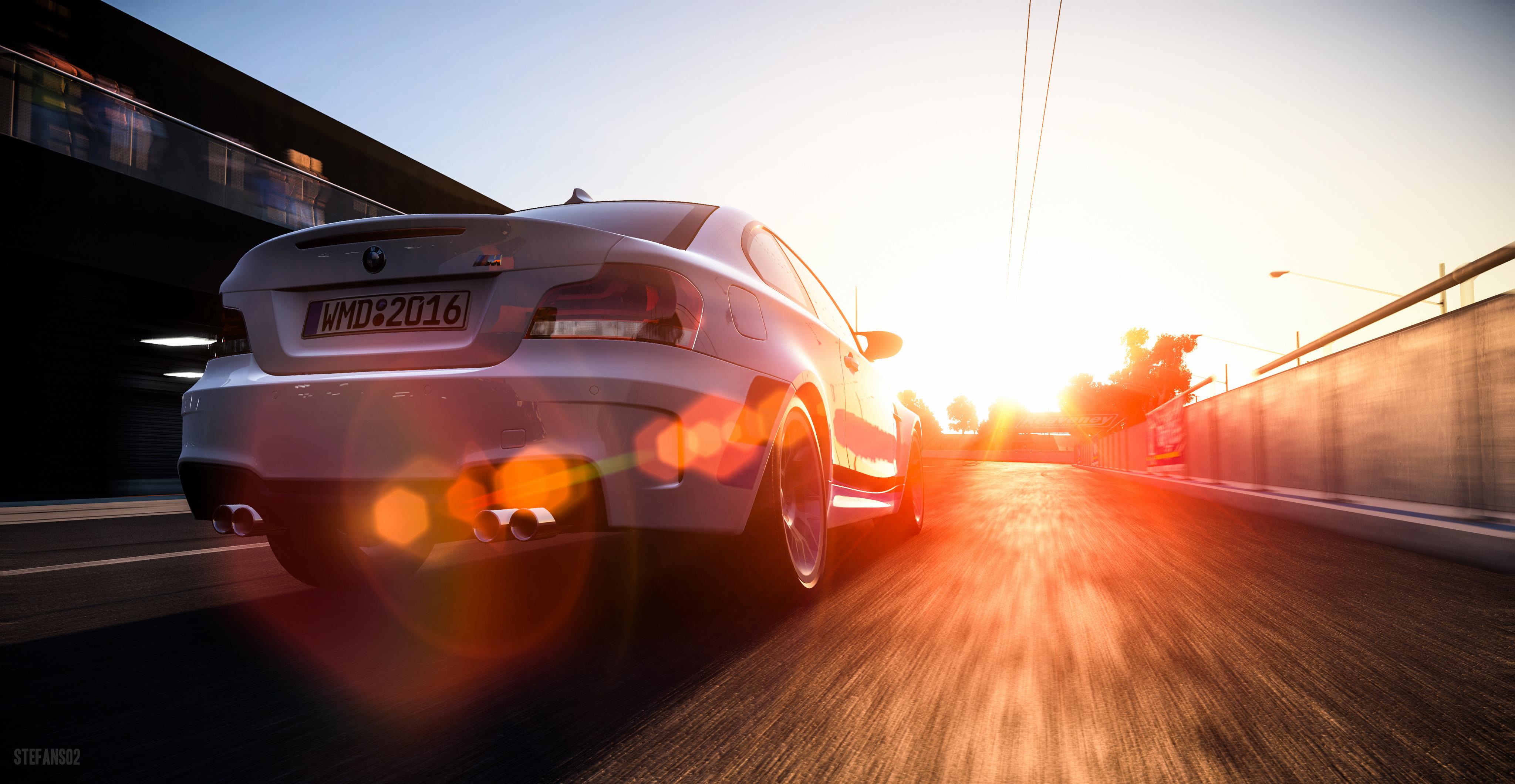 150843 скачать обои Тачки (Cars), Bmw 1-Series M Coupe, Бмв (Bmw), Автомобиль, Солнечный Свет, Движение, Арт - заставки и картинки бесплатно