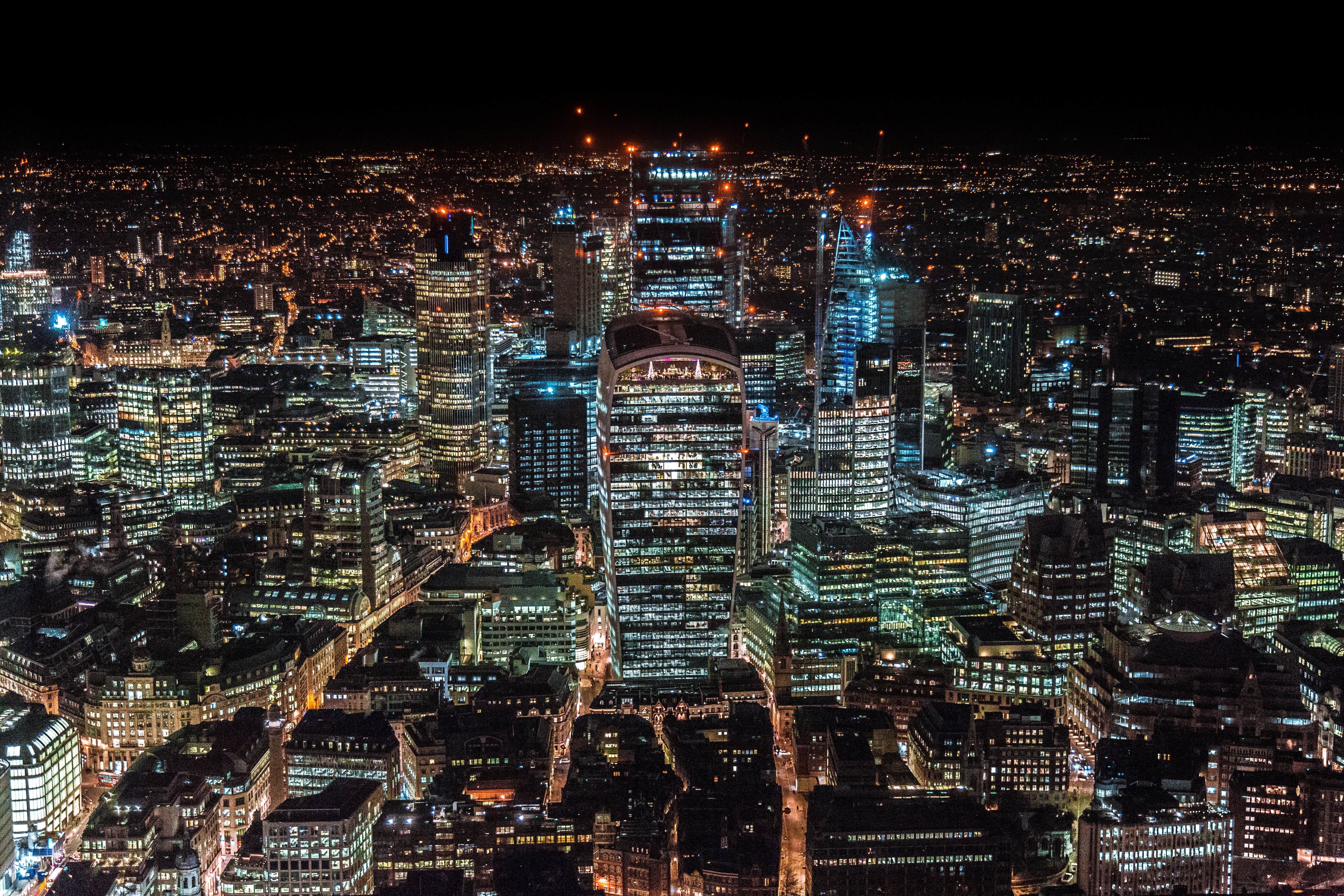 127716 Screensavers and Wallpapers Night City for phone. Download Cities, Great Britain, London, View From Above, Night City, Skyscrapers, United Kingdom pictures for free