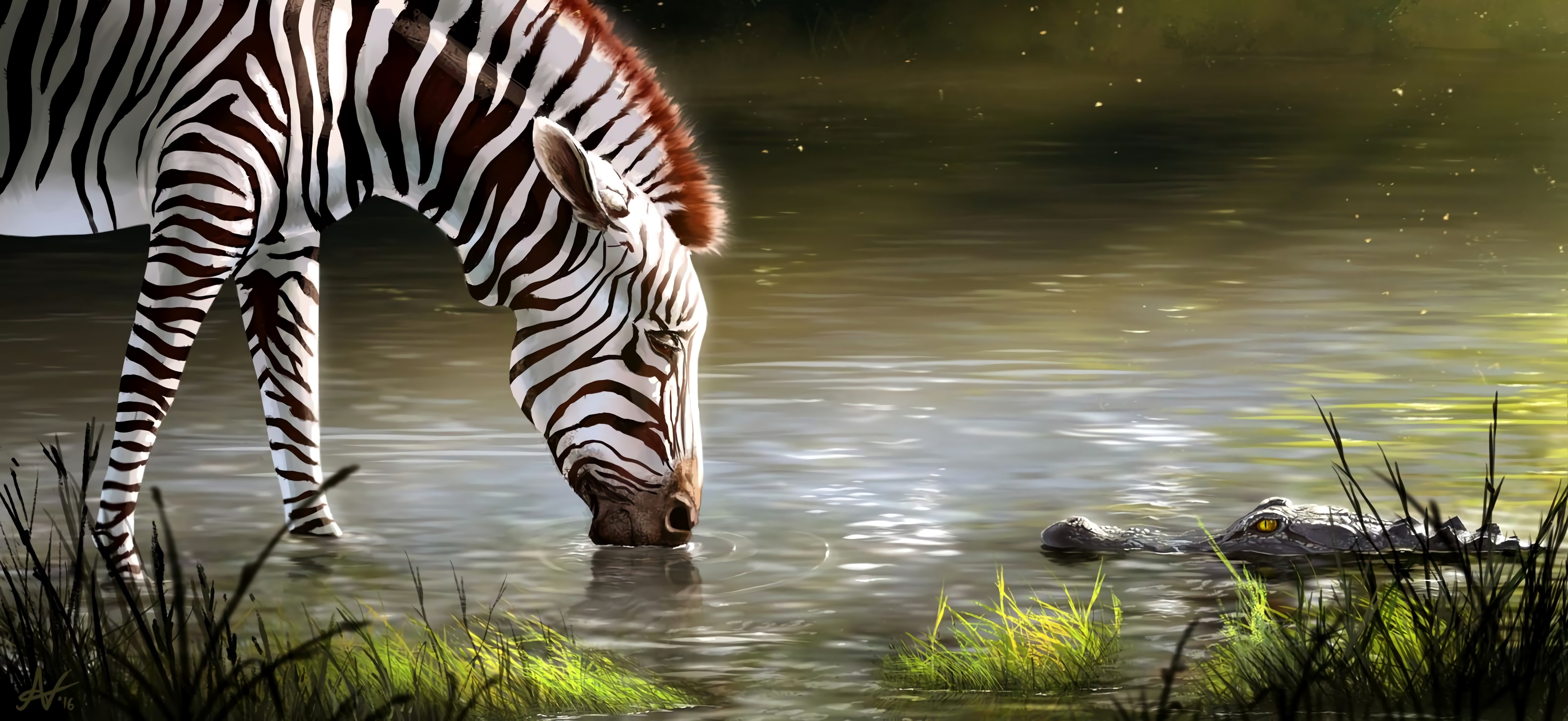 122687 download wallpaper Zebra, Lake, Art, Animal, Wildlife screensavers and pictures for free