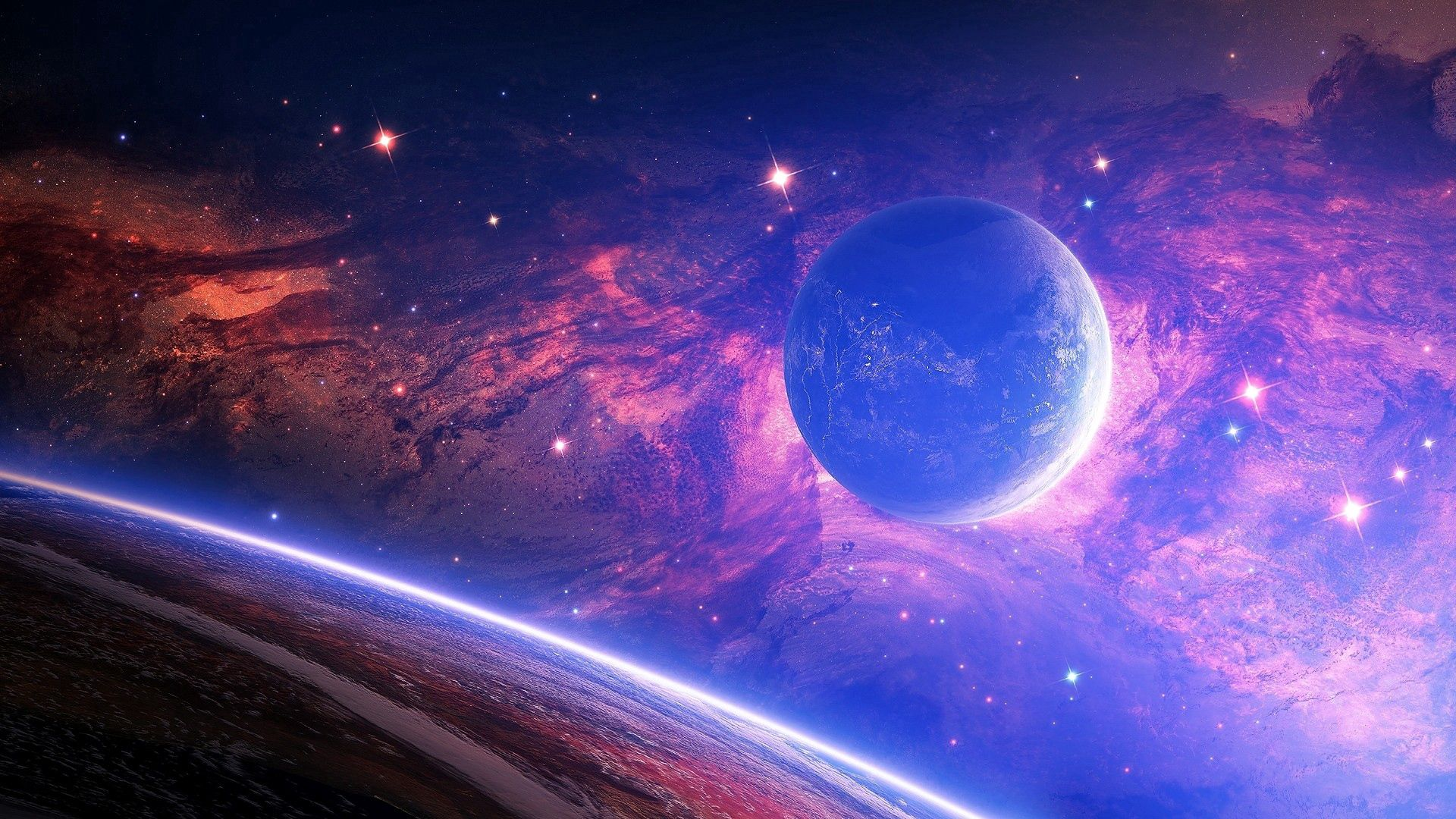 71079 download wallpaper Planet, Shine, Light, Stains, Spots, Universe screensavers and pictures for free