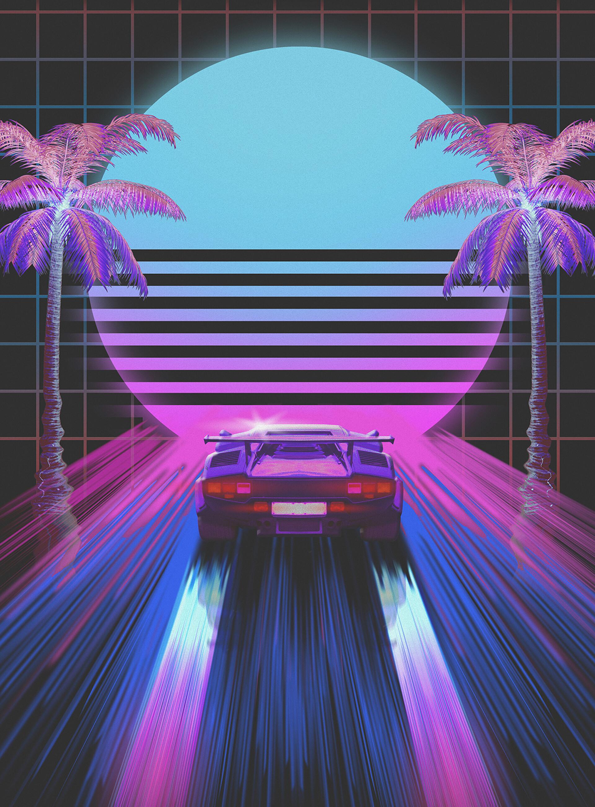89440 Hintergrundbild herunterladen Auto, Kunst, Cars, Maschine, Neon, Retro, Die 80Er Jahre, 80 - Bildschirmschoner und Bilder kostenlos