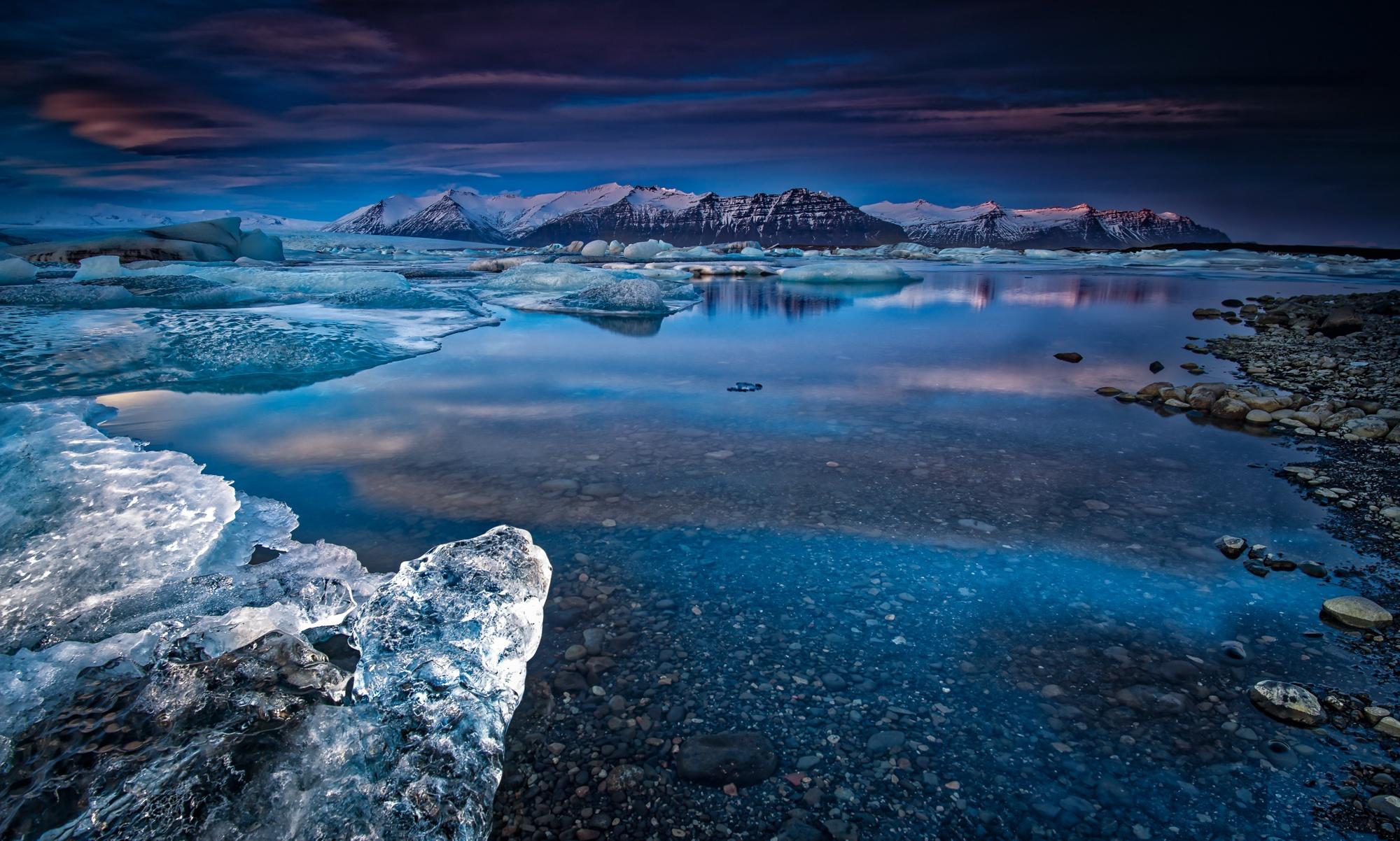 109697 скачать обои Природа, Река, Зима, Лед, Снег, Горы - заставки и картинки бесплатно