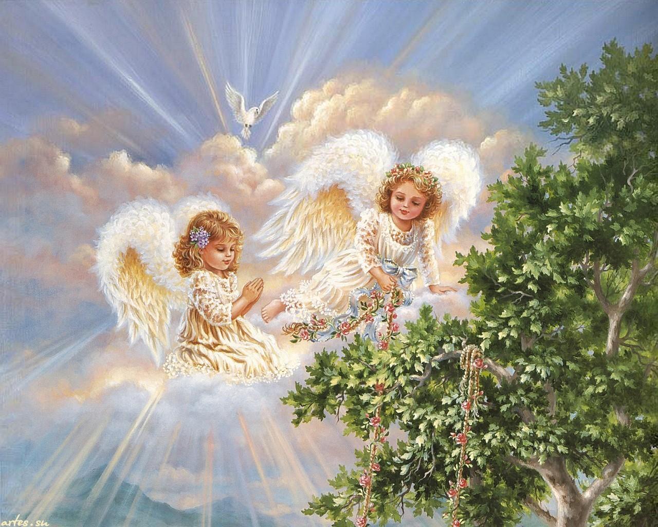13656 скачать обои Рисунки, Ангелы, Дети - заставки и картинки бесплатно