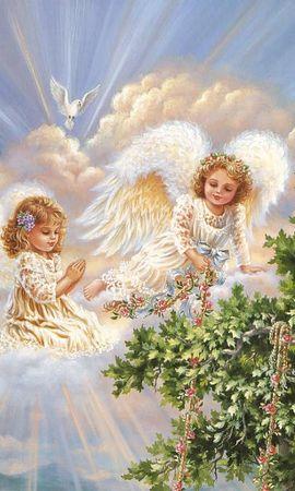13656 скачать обои Дети, Ангелы, Рисунки - заставки и картинки бесплатно