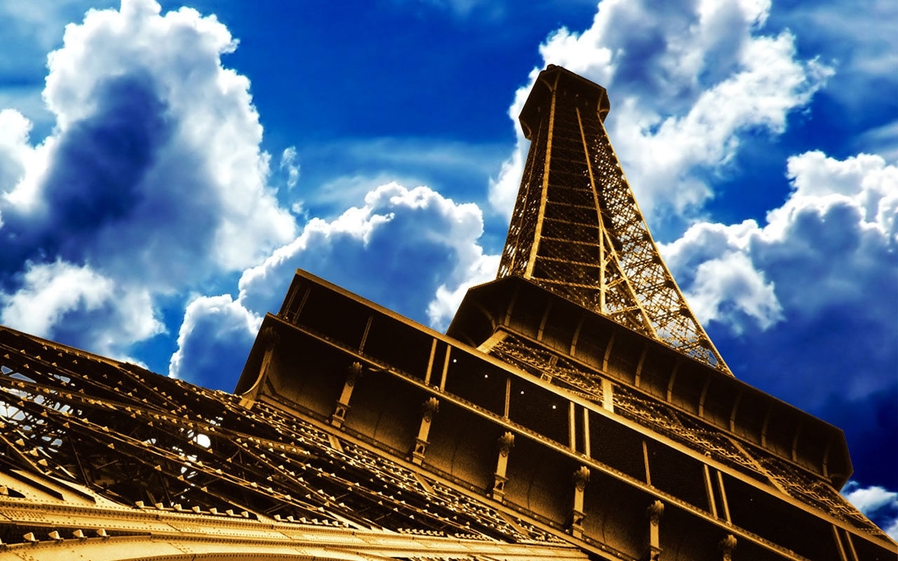 1254 download wallpaper Sky, Architecture, Paris, Eiffel Tower screensavers and pictures for free