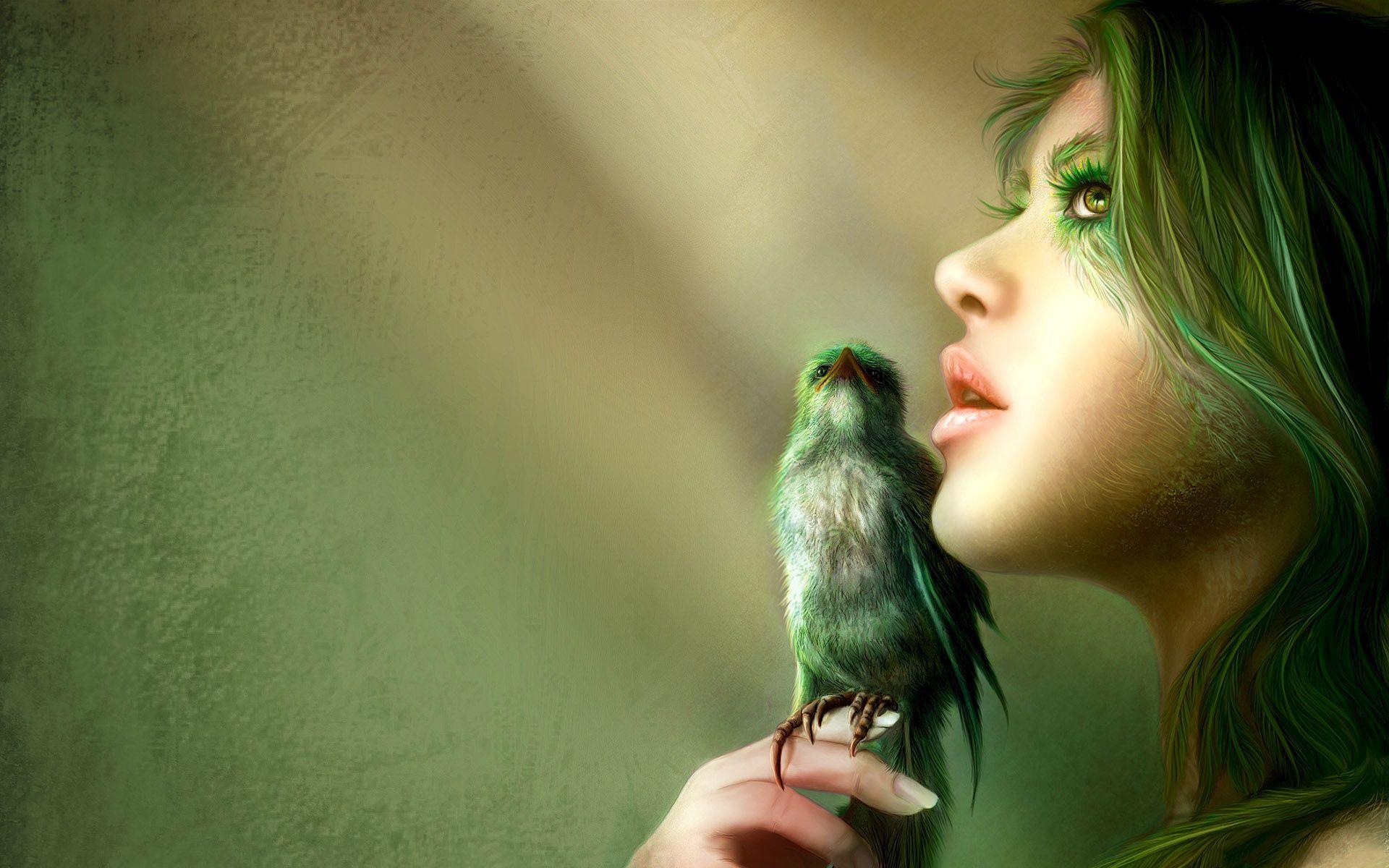 79490 скачать обои Фэнтези, Девушка, Взгляд, Птица, Волосы, Лицо - заставки и картинки бесплатно