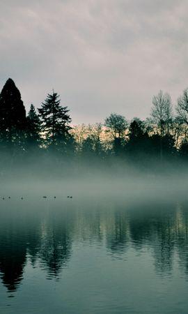 152198 Заставки и Обои Река на телефон. Скачать Природа, Река, Деревья, Туман, Отражение картинки бесплатно