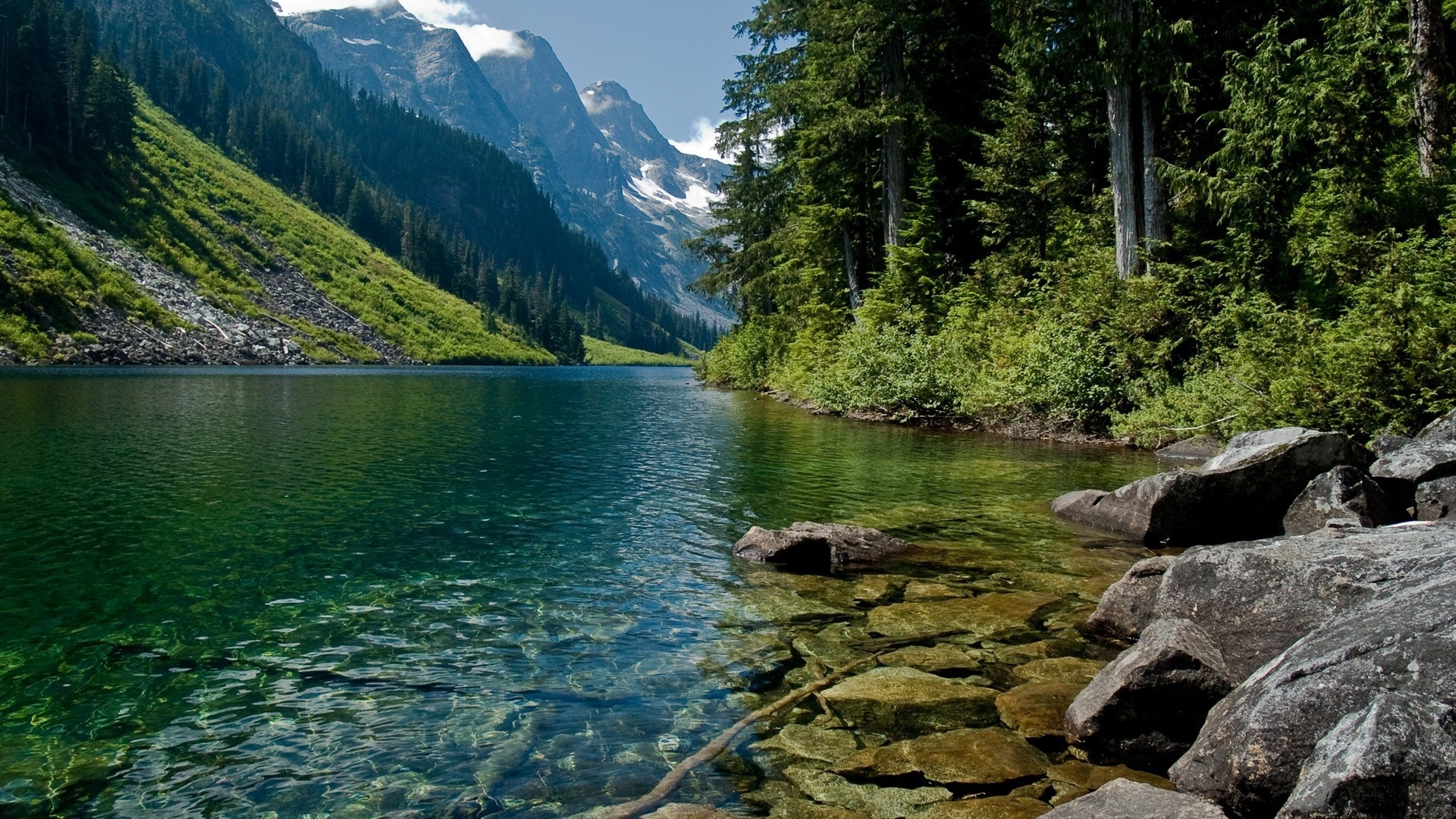 23259 download wallpaper Landscape, Rivers, Trees, Mountains screensavers and pictures for free