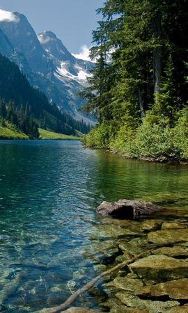 23259 скачать обои Пейзаж, Река, Деревья, Горы - заставки и картинки бесплатно