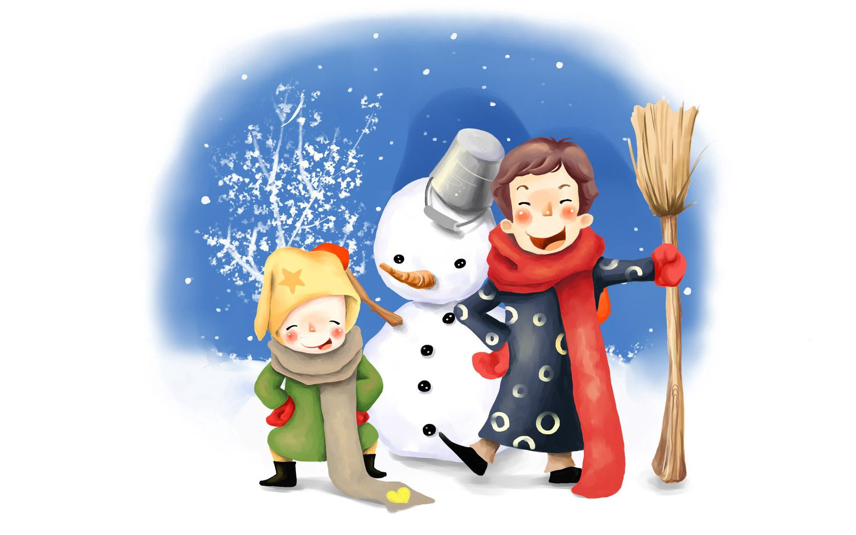153940 Screensavers and Wallpapers Children for phone. Download Miscellanea, Miscellaneous, Picture, Drawing, Children, Fun, Merriment, Snowman, Winter, Bucket, Broom, Buttons, Scarves pictures for free