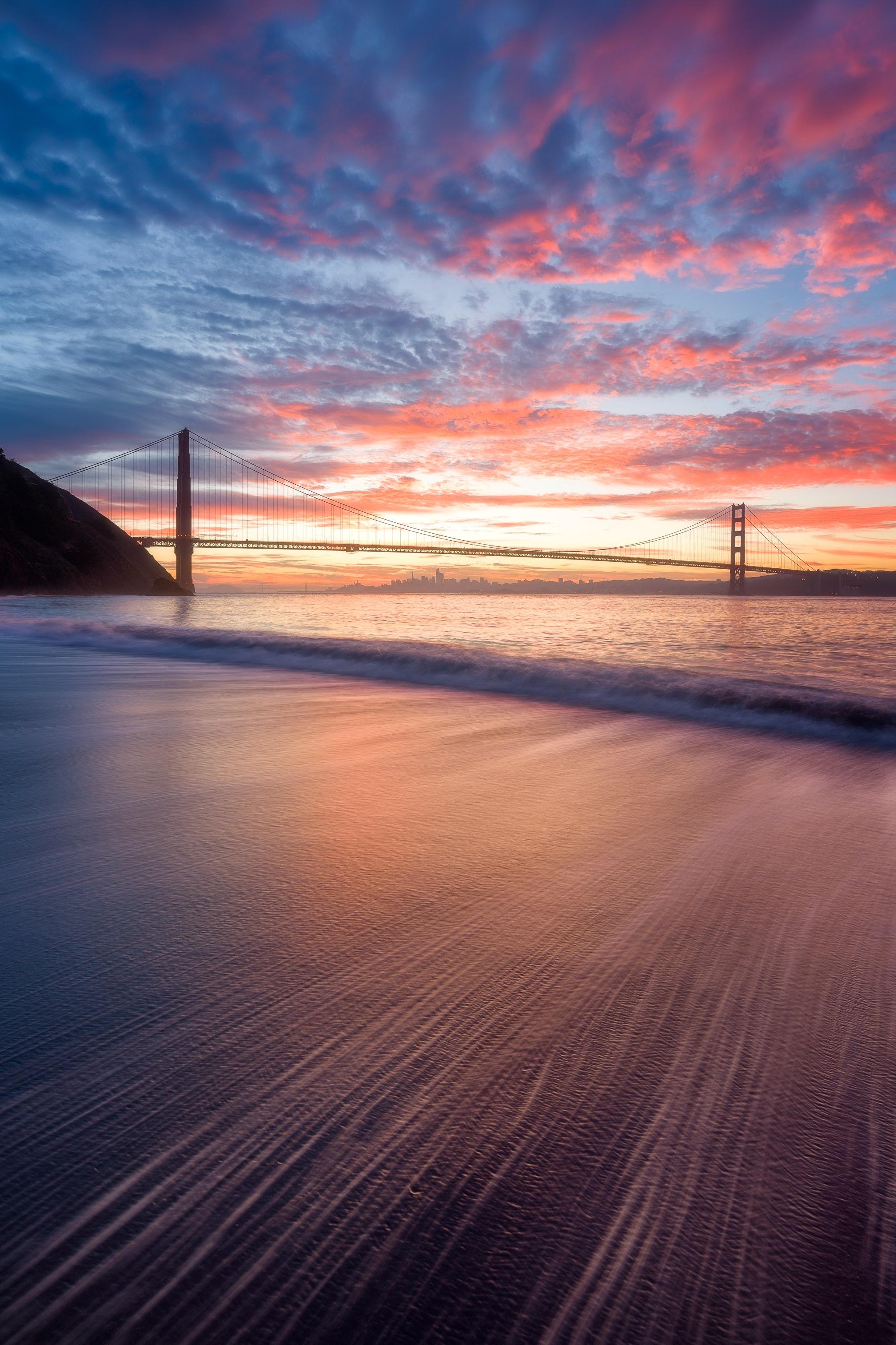 154934 скачать обои Вода, Природа, Закат, Волны, Мост - заставки и картинки бесплатно