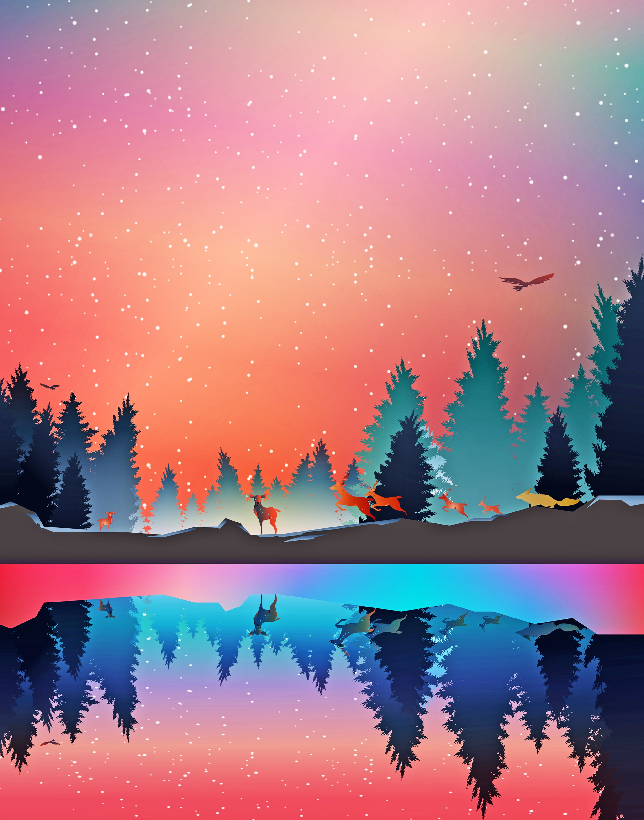125575 download wallpaper Winter, Art, Vector, Forest, Reflection, Animals screensavers and pictures for free