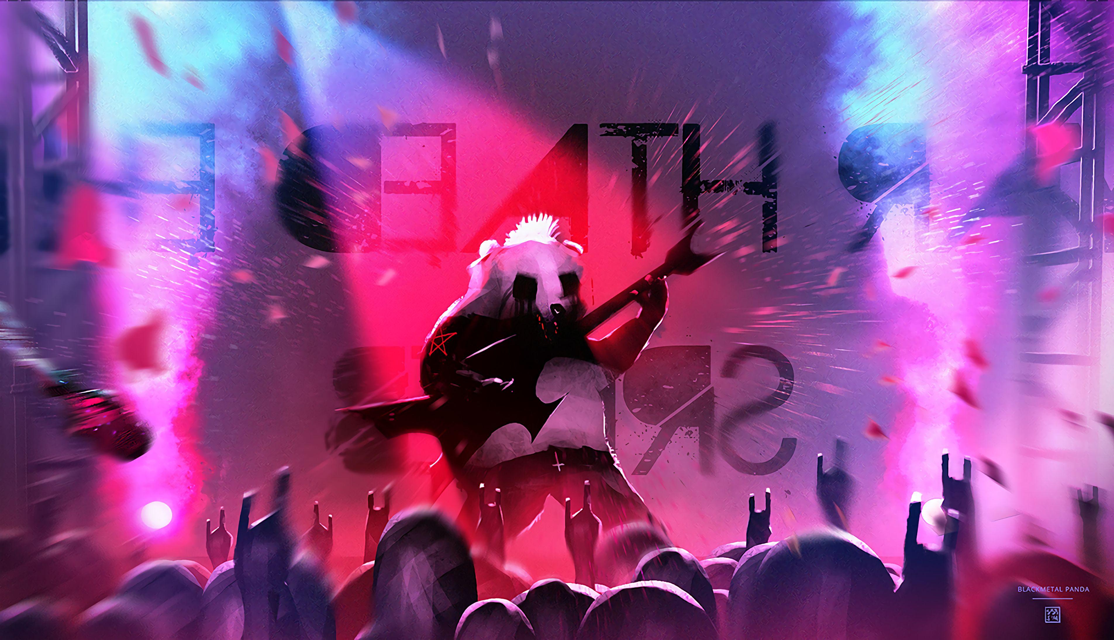 115593 download wallpaper Panda, Guitar Player, Guitarist, Art, Guitar, Concert screensavers and pictures for free