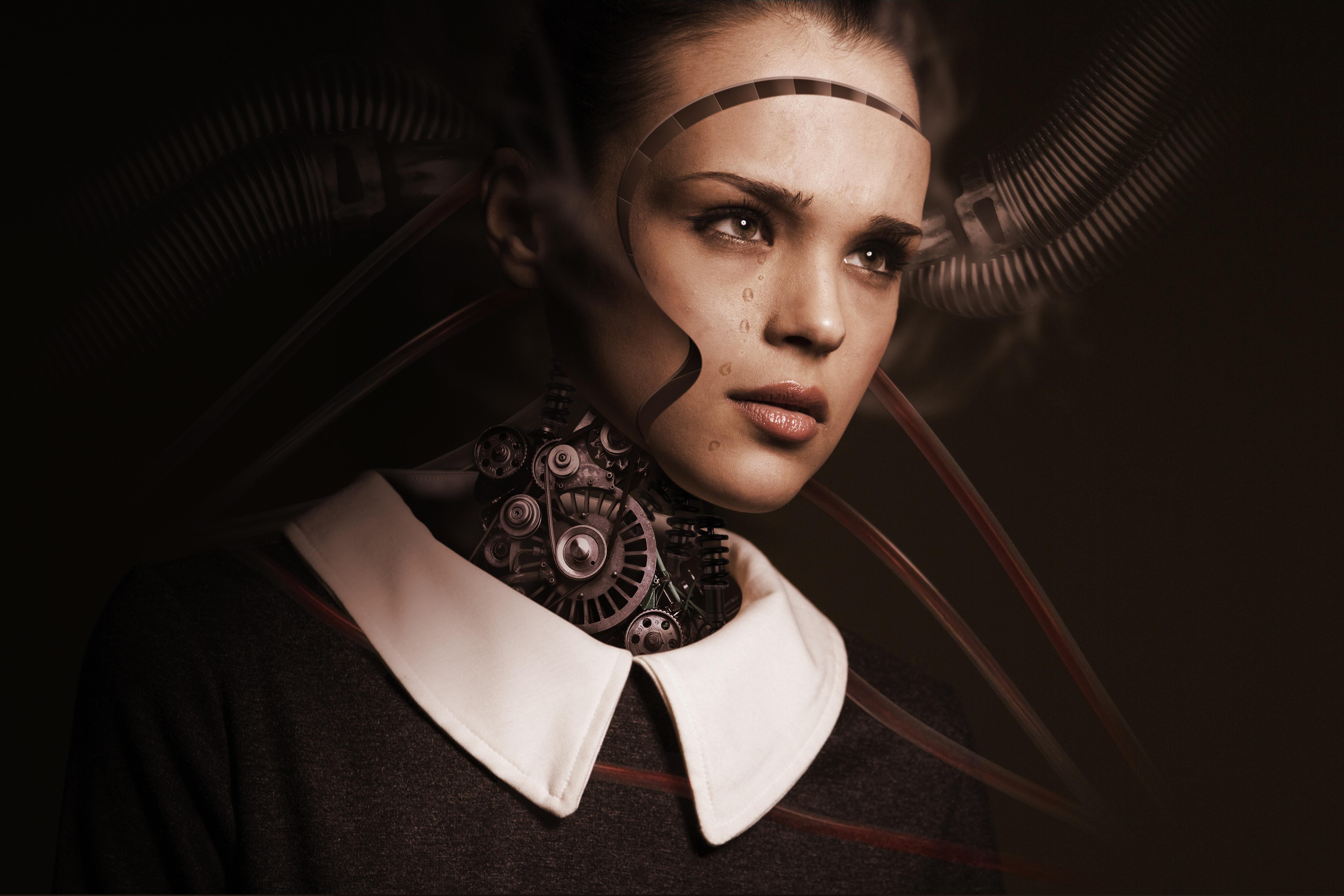 134574 Hintergrundbild herunterladen Mädchen, Kunst, Traurigkeit, Roboter, Cyborg, Zukunft, Trauer, Gefühle, Künstliche Intelligenz, Tränen - Bildschirmschoner und Bilder kostenlos