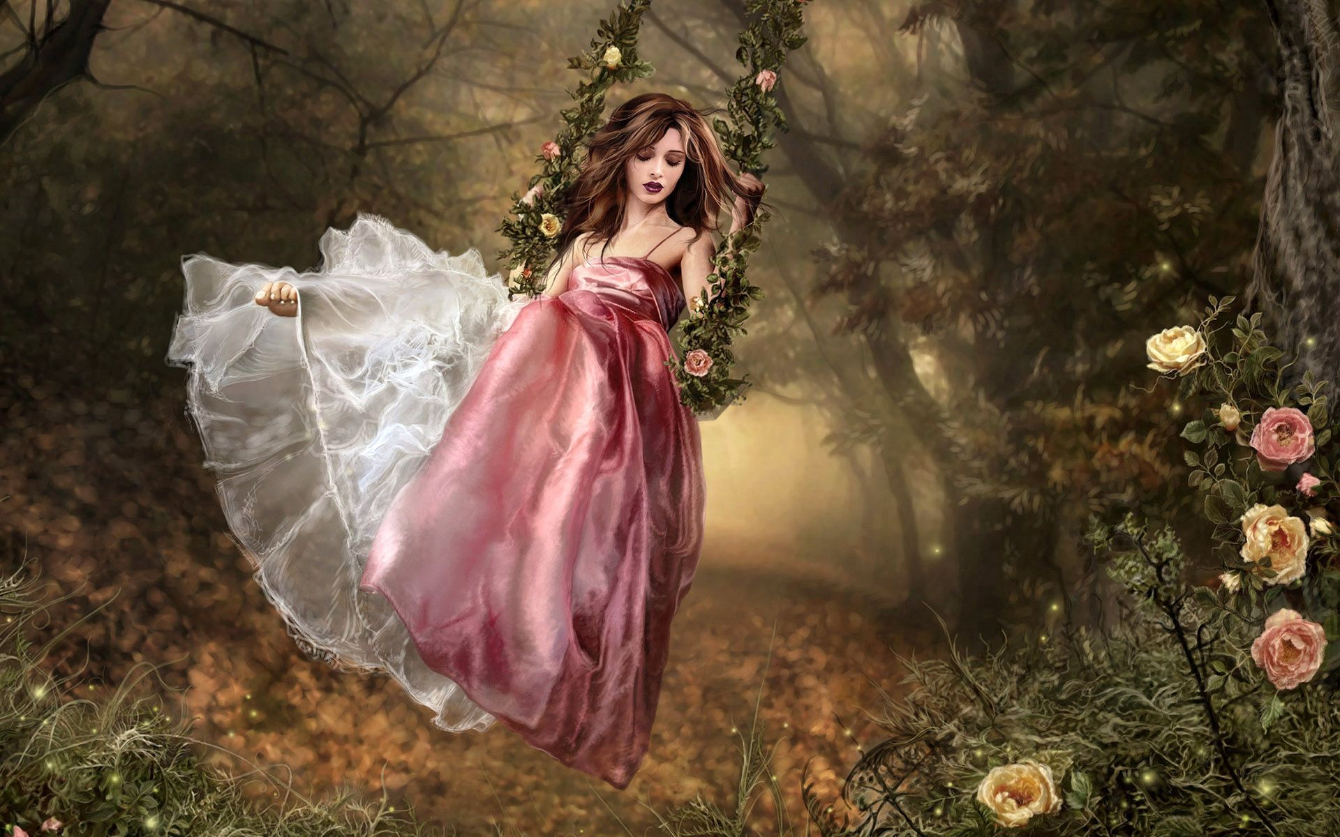 53527 Screensavers and Wallpapers Brunette for phone. Download Fantasy, Girl, Garden, Swing, Dress, Brunette pictures for free