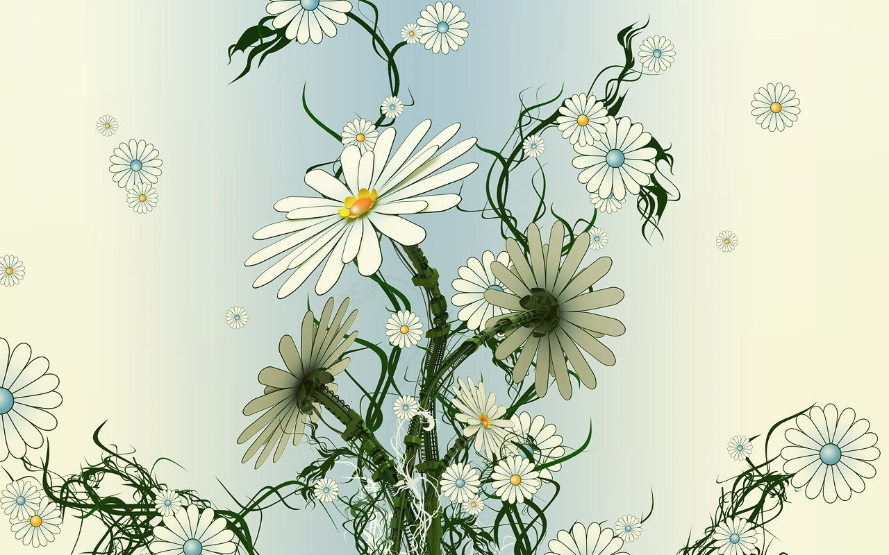 Скачать картинку Цветы, Ромашки, Рисунки в телефон бесплатно.