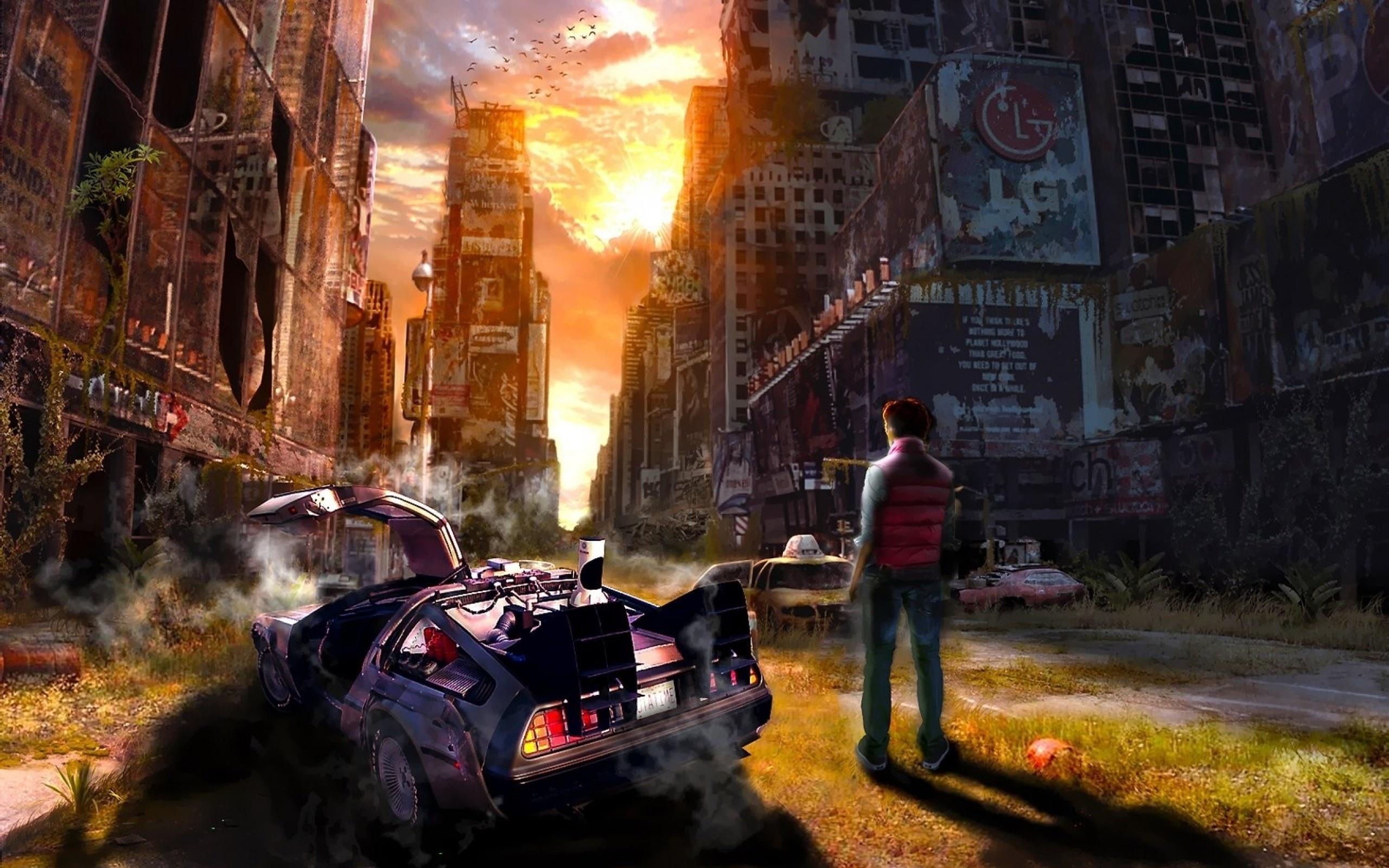 20260 скачать обои Пейзаж, Города, Машины, Люди, Фэнтези, Мужчины - заставки и картинки бесплатно