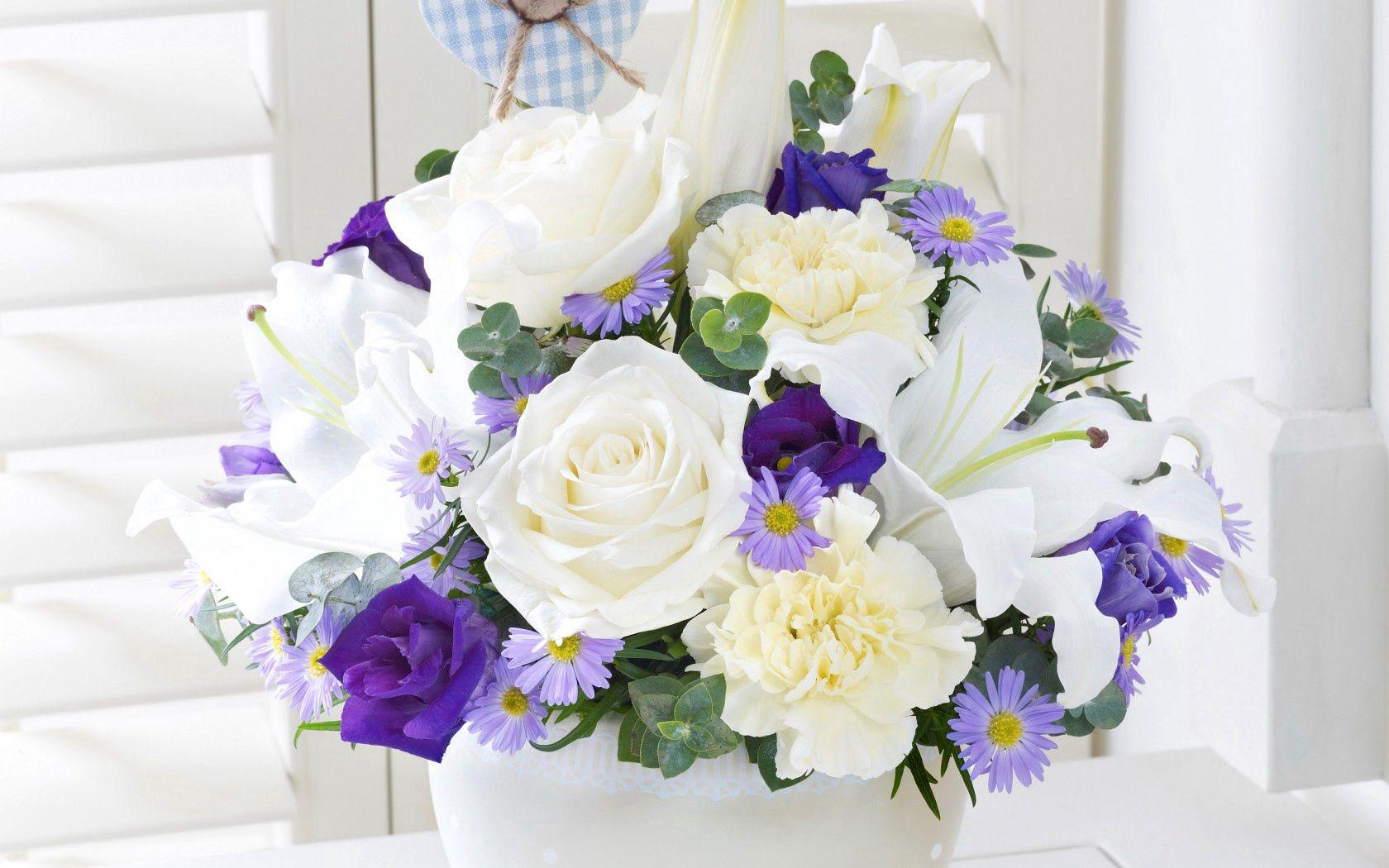 68372 télécharger le fond d'écran Fleurs, Eustoma, Lilies, Bouquet - économiseurs d'écran et images gratuitement