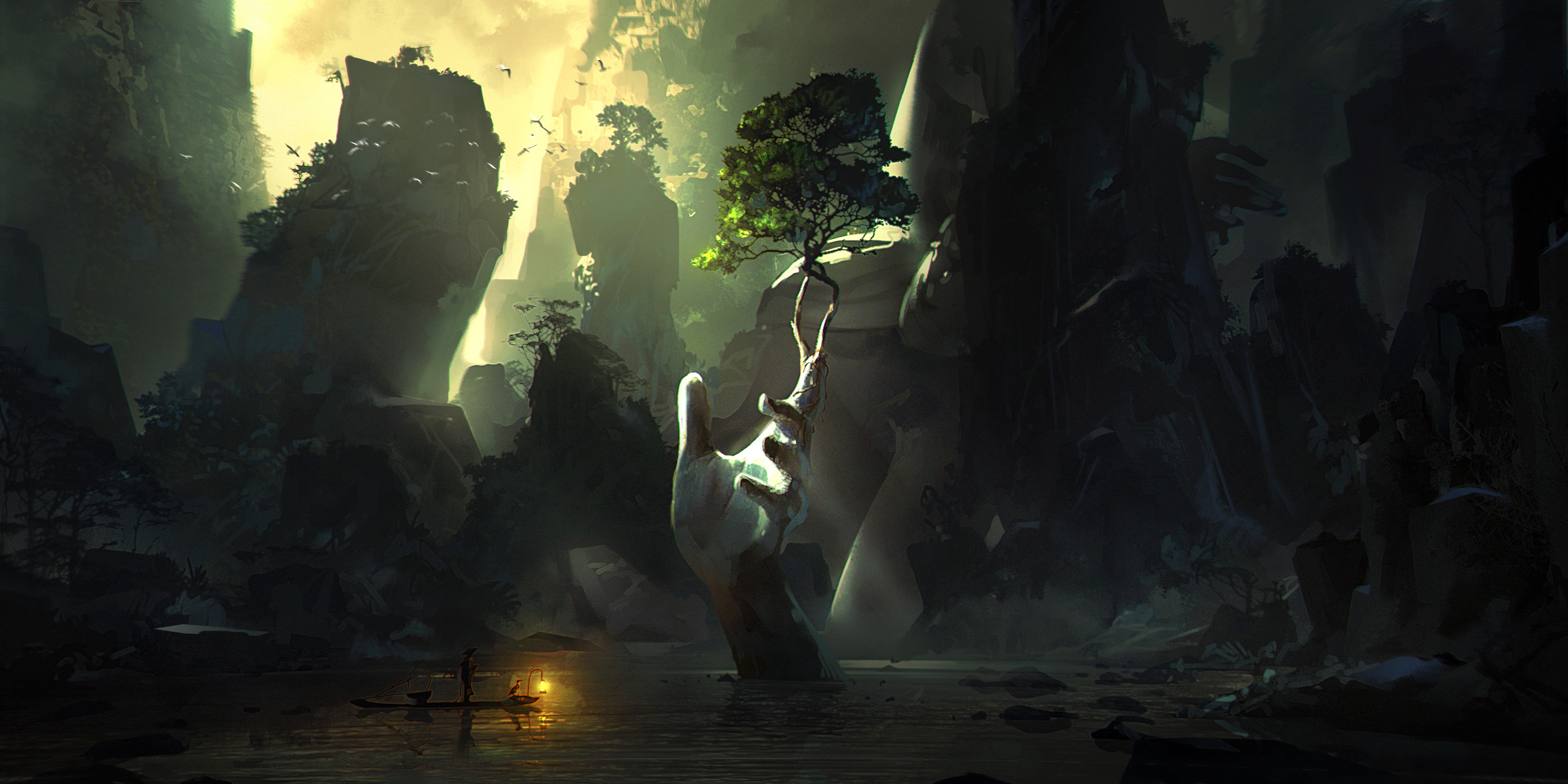 64143 download wallpaper Fantasy, Art, Hand, Palm, Stone, Cave, Ruin, Ruins screensavers and pictures for free
