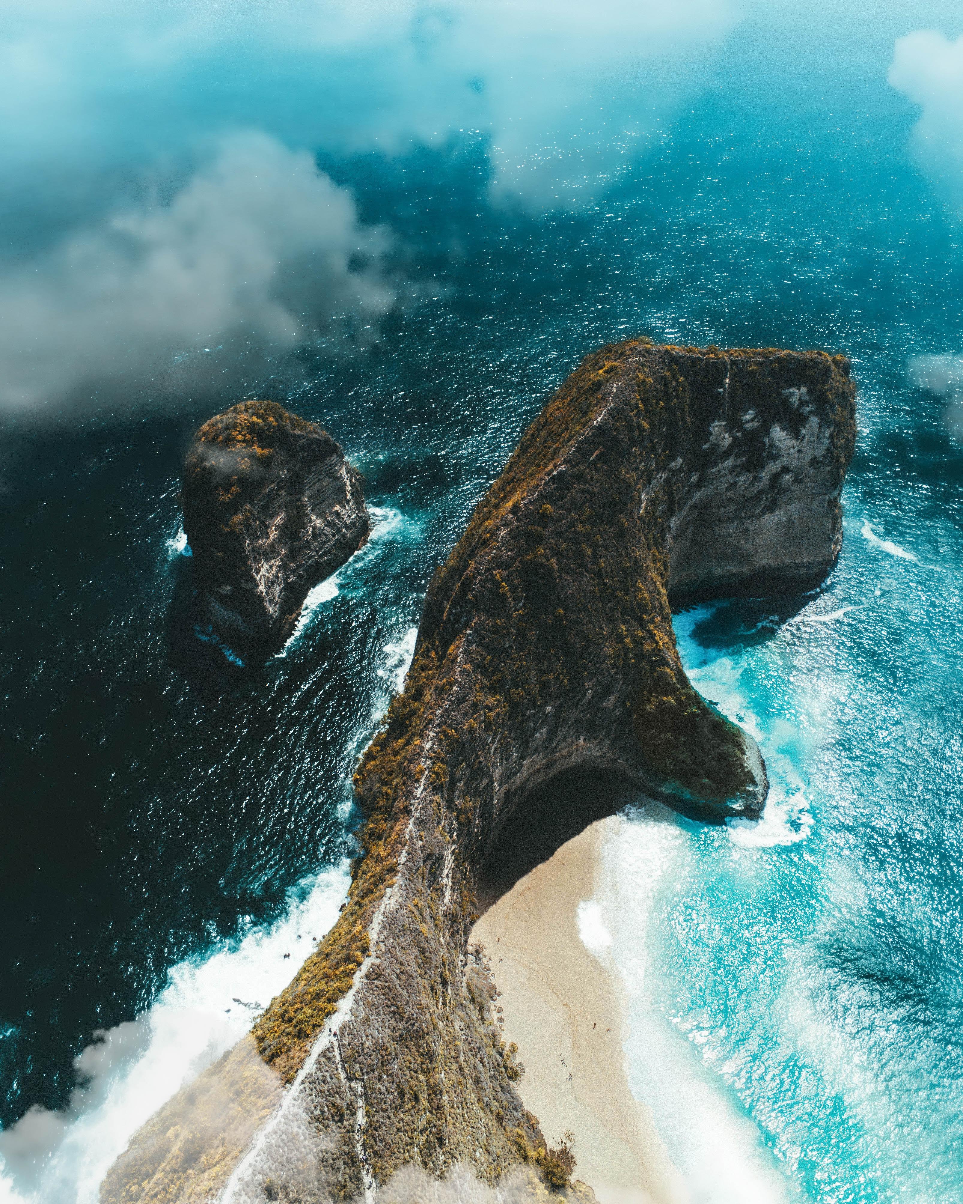 50670 免費下載壁紙 性质, 岛, 岛屿, 岩石, 从上面看, 顶视图, 海, 云 屏保和圖片
