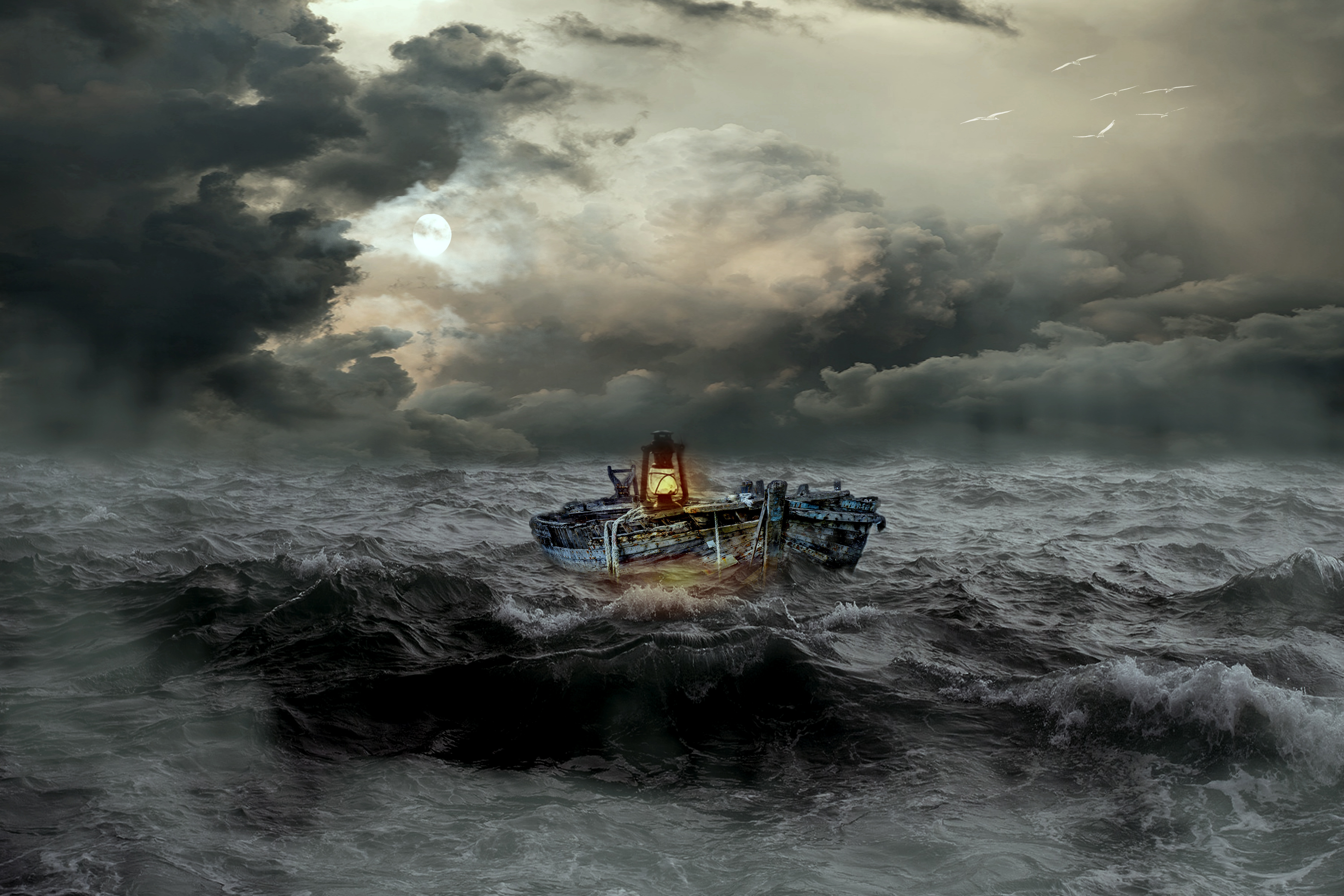 98128 download wallpaper Miscellanea, Miscellaneous, Boat, Storm, Sea, Mainly Cloudy, Overcast, Waves screensavers and pictures for free