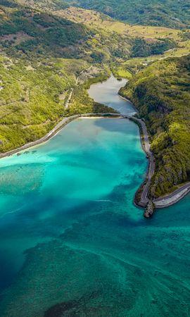 90887壁紙のダウンロード自然, 島, 上から見る, 海洋, 大洋, ショア, 銀行, マコンデ, マクンデ, モーリシャス-スクリーンセーバーと写真を無料で