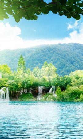 21981 скачать обои Пейзаж, Деревья, Горы, Водопады, Озера - заставки и картинки бесплатно