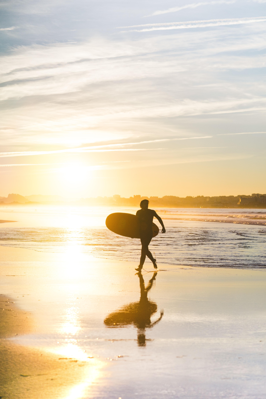 88140 скачать обои Спорт, Пляж, Серфинг, Доска, Закат, Море, Солнце - заставки и картинки бесплатно